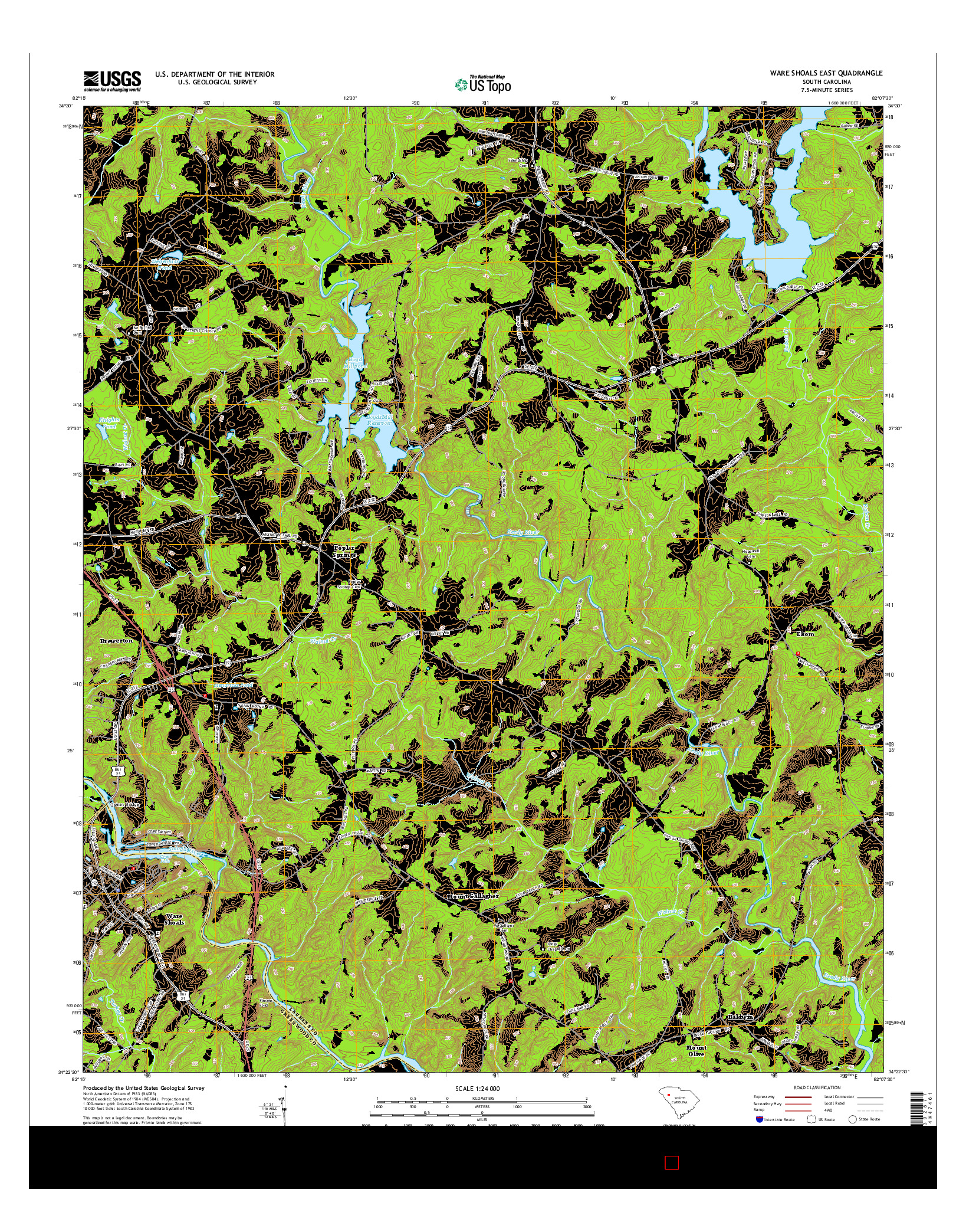 USGS US TOPO 7.5-MINUTE MAP FOR WARE SHOALS EAST, SC 2014