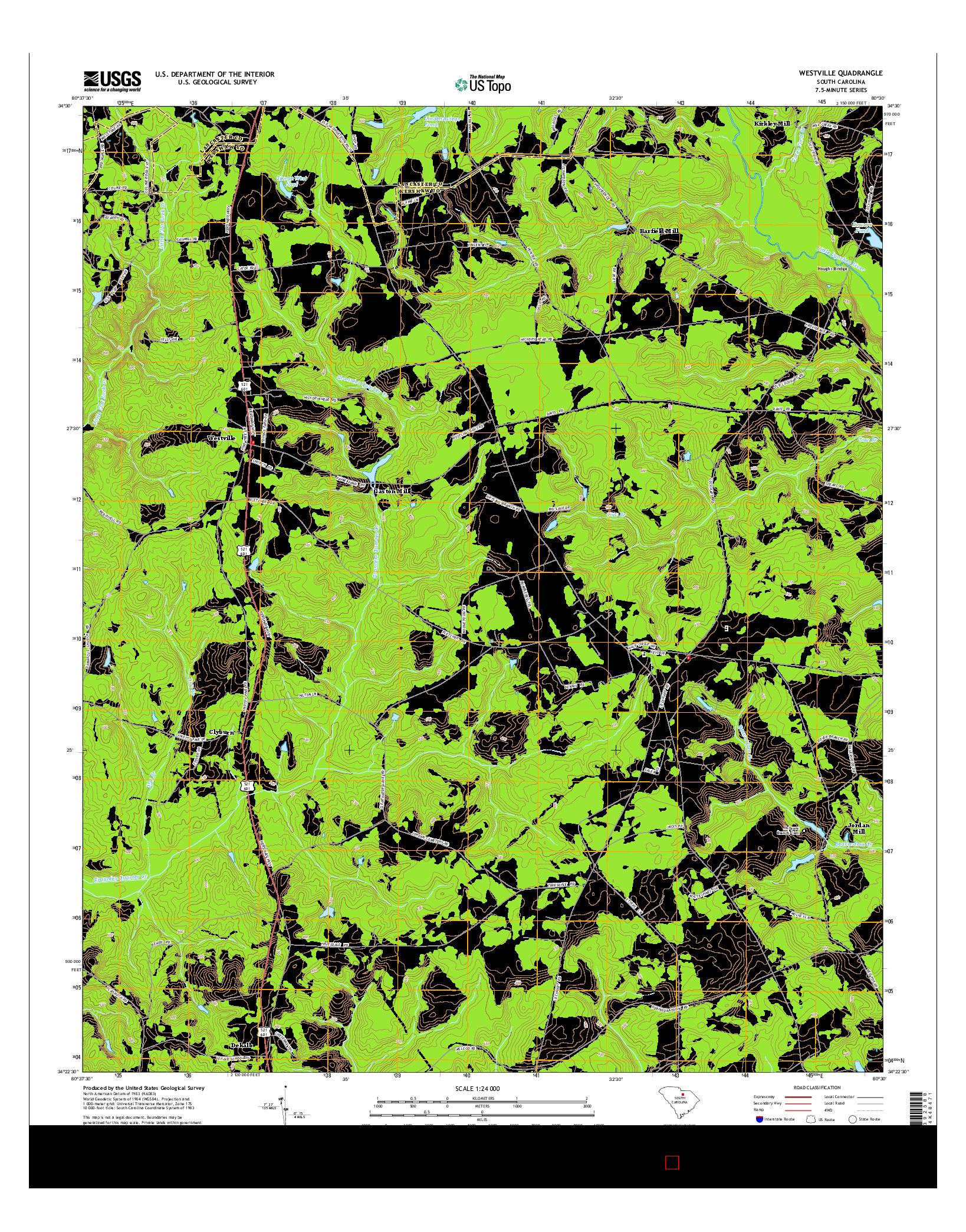USGS US TOPO 7.5-MINUTE MAP FOR WESTVILLE, SC 2014