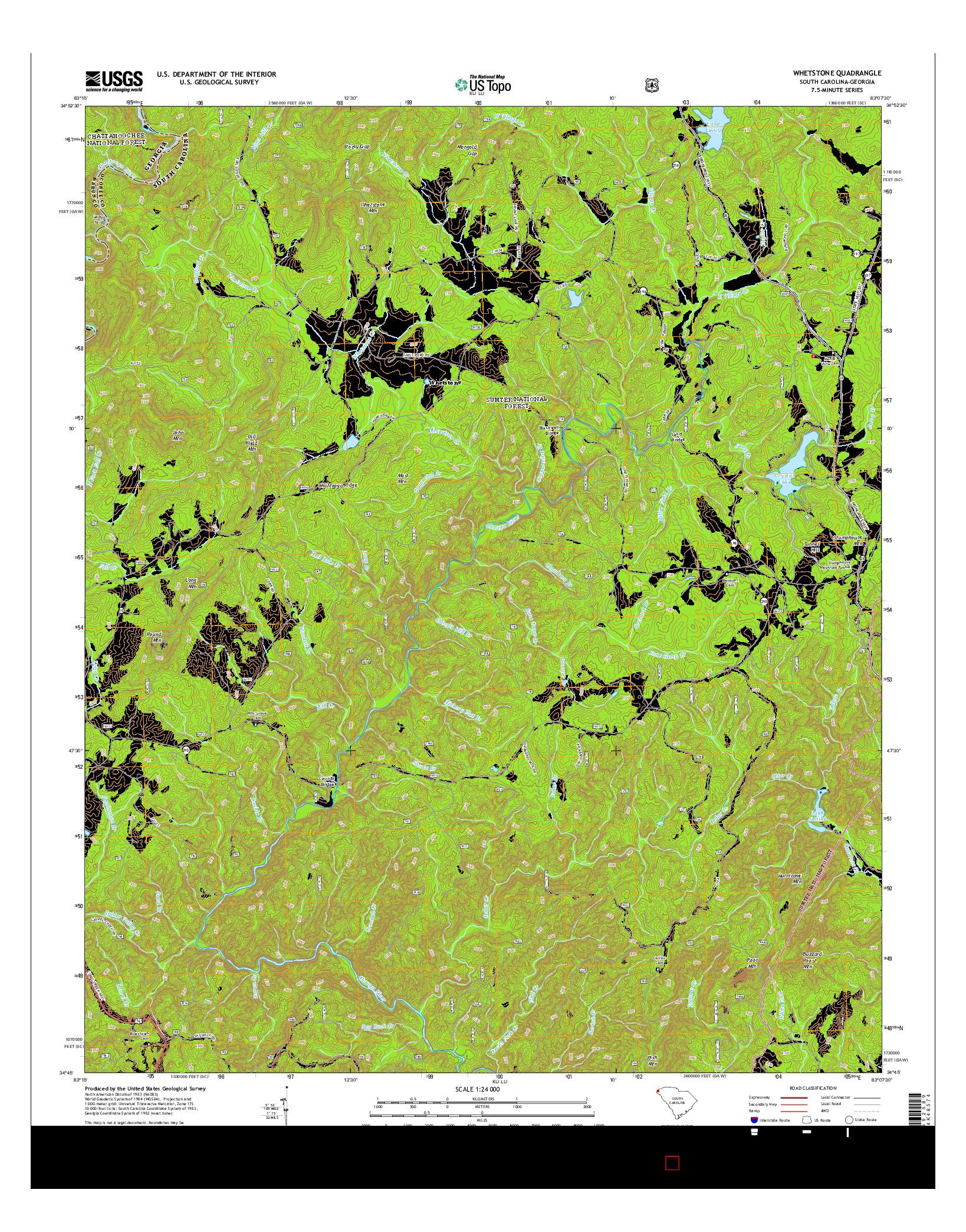 USGS US TOPO 7.5-MINUTE MAP FOR WHETSTONE, SC-GA 2014