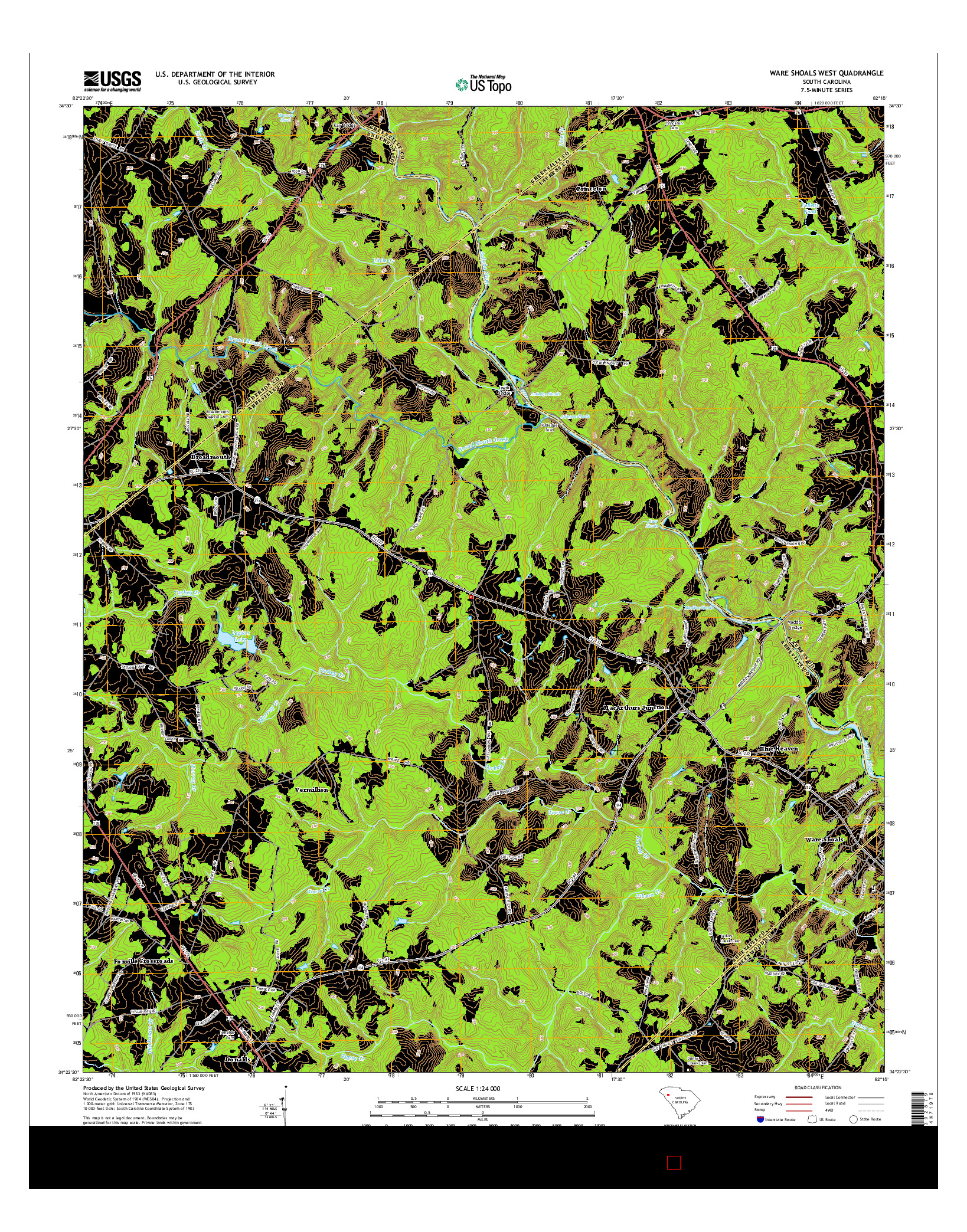 USGS US TOPO 7.5-MINUTE MAP FOR WARE SHOALS WEST, SC 2014