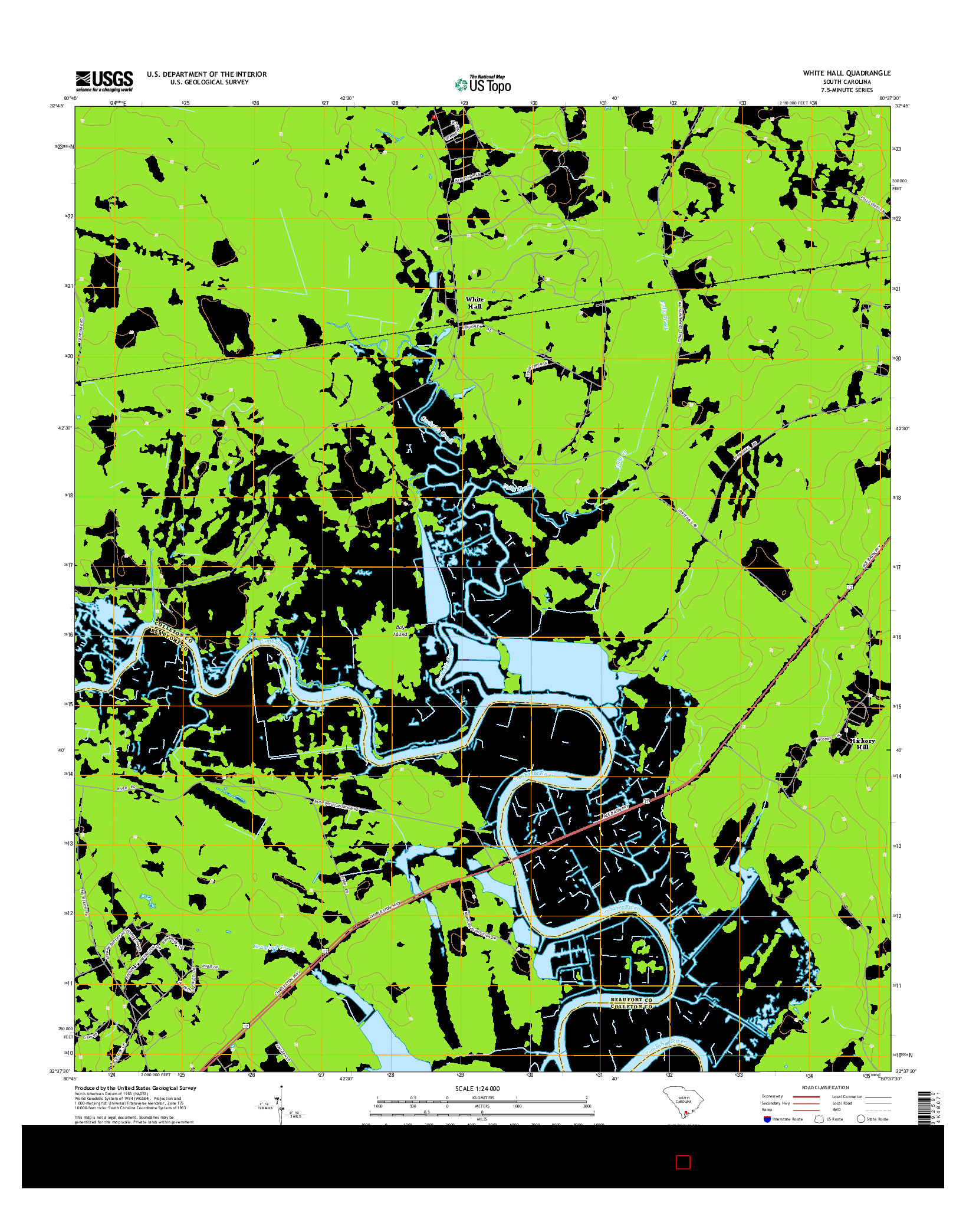 USGS US TOPO 7.5-MINUTE MAP FOR WHITE HALL, SC 2014