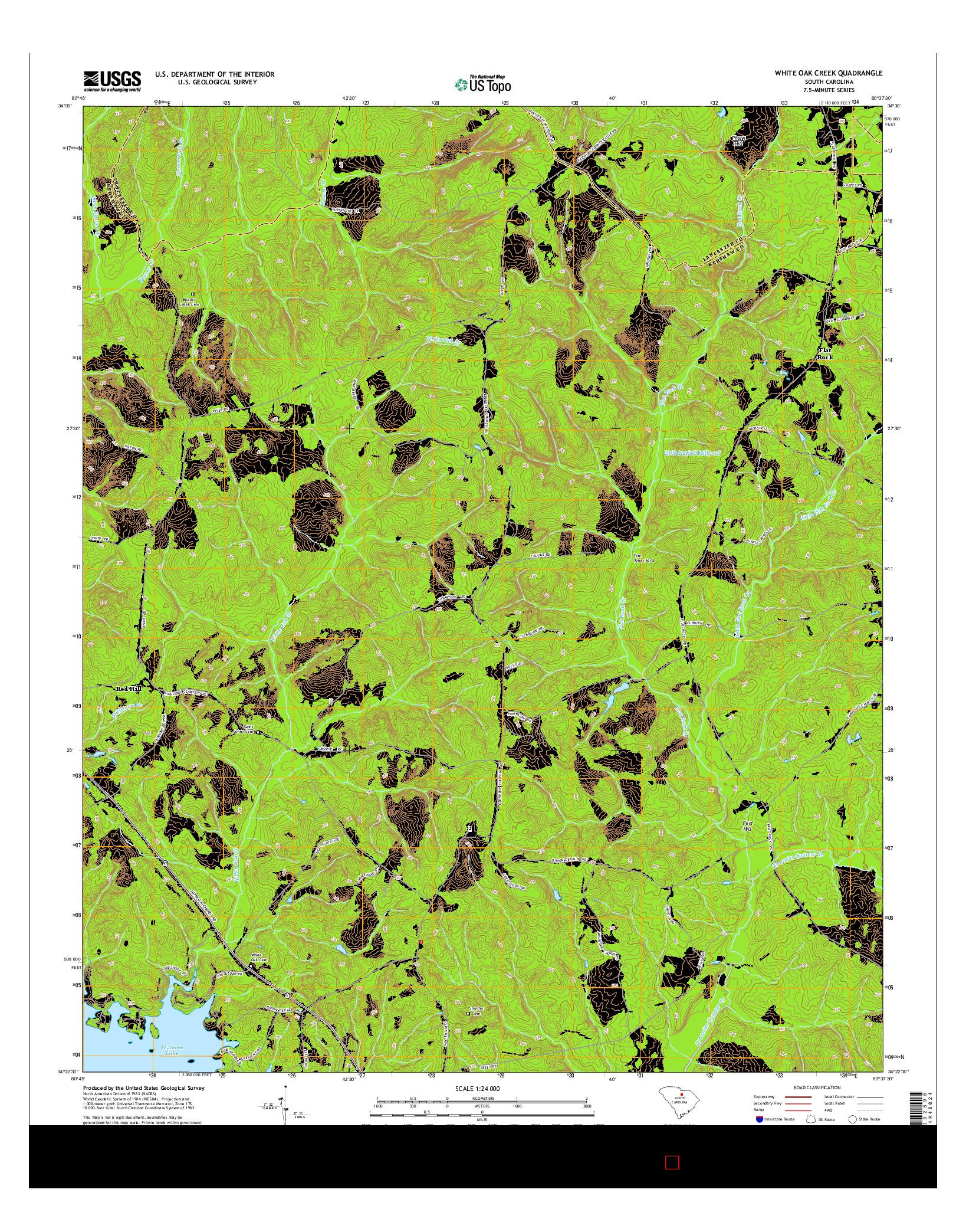 USGS US TOPO 7.5-MINUTE MAP FOR WHITE OAK CREEK, SC 2014