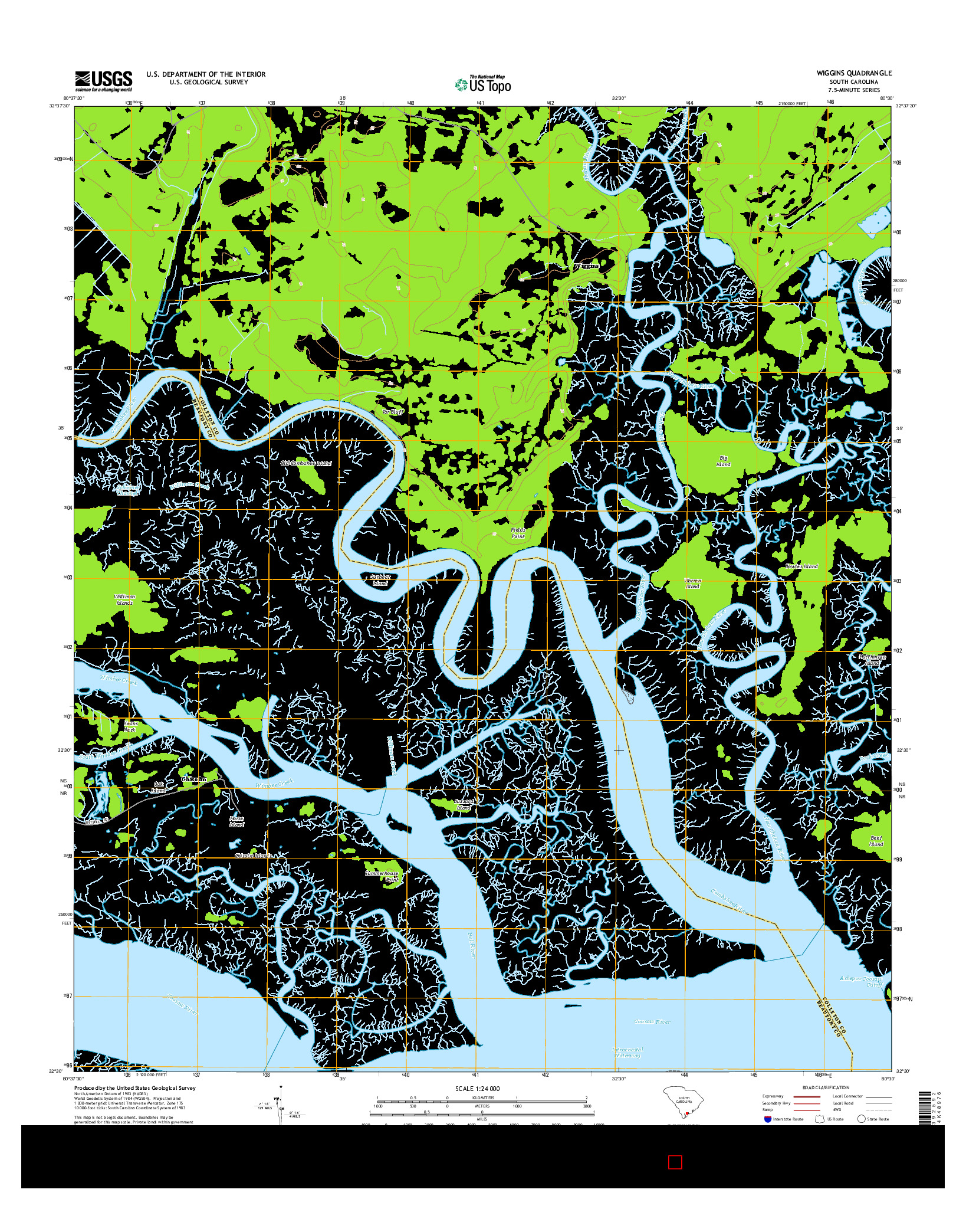 USGS US TOPO 7.5-MINUTE MAP FOR WIGGINS, SC 2014