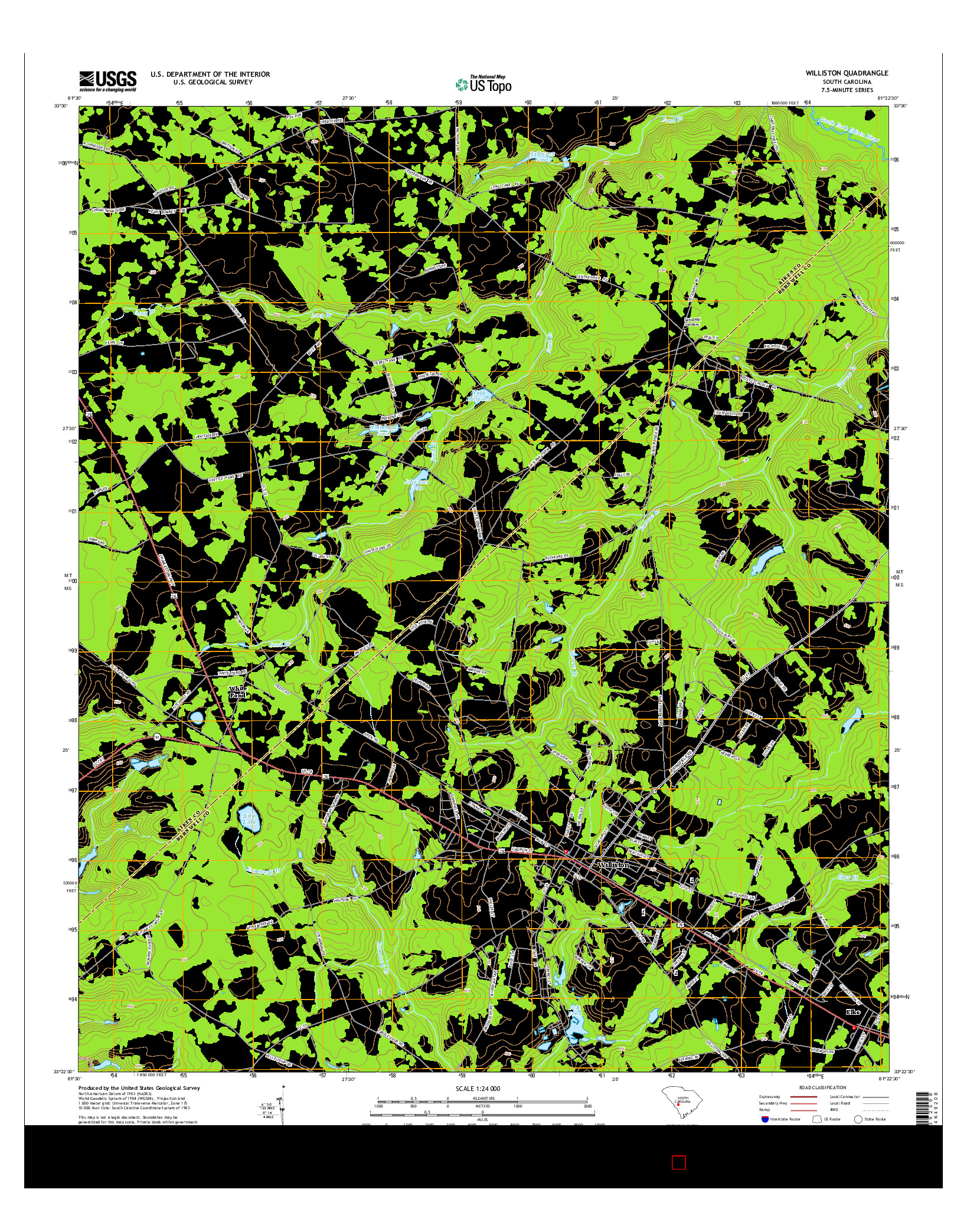 USGS US TOPO 7.5-MINUTE MAP FOR WILLISTON, SC 2014