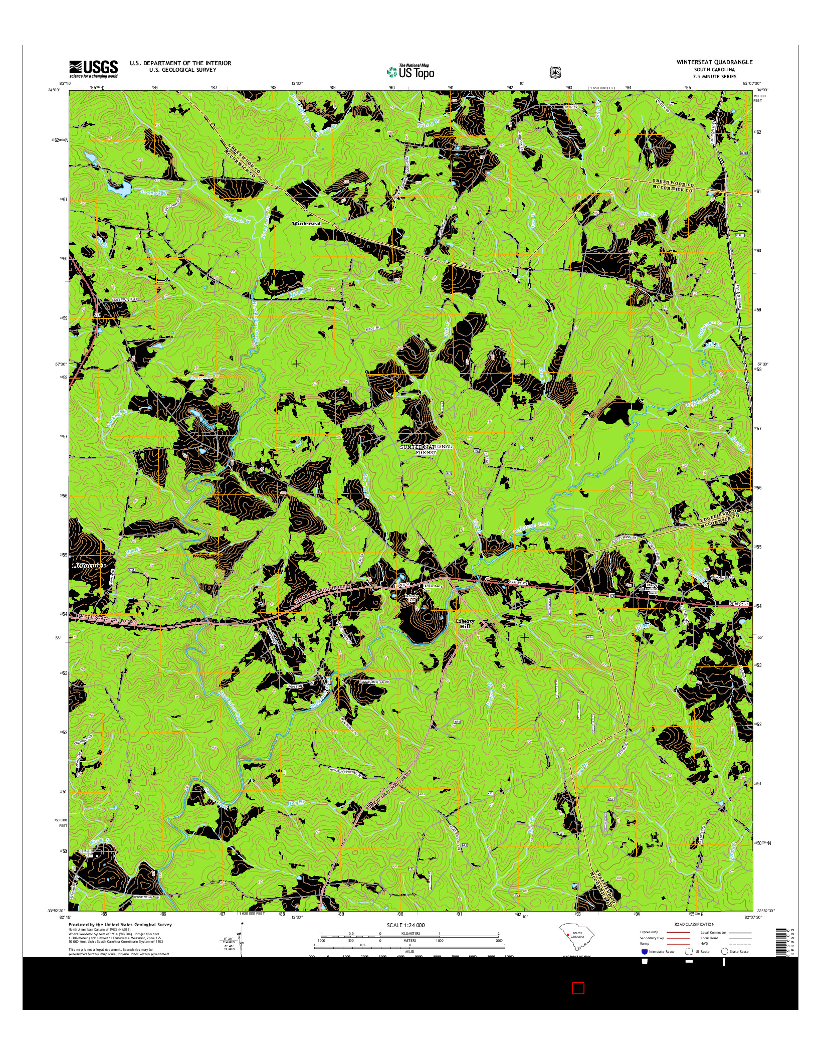 USGS US TOPO 7.5-MINUTE MAP FOR WINTERSEAT, SC 2014