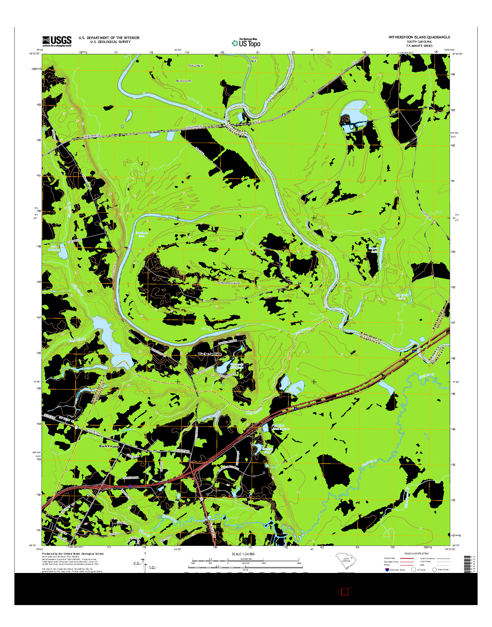 USGS US TOPO 7.5-MINUTE MAP FOR WITHERSPOON ISLAND, SC 2014
