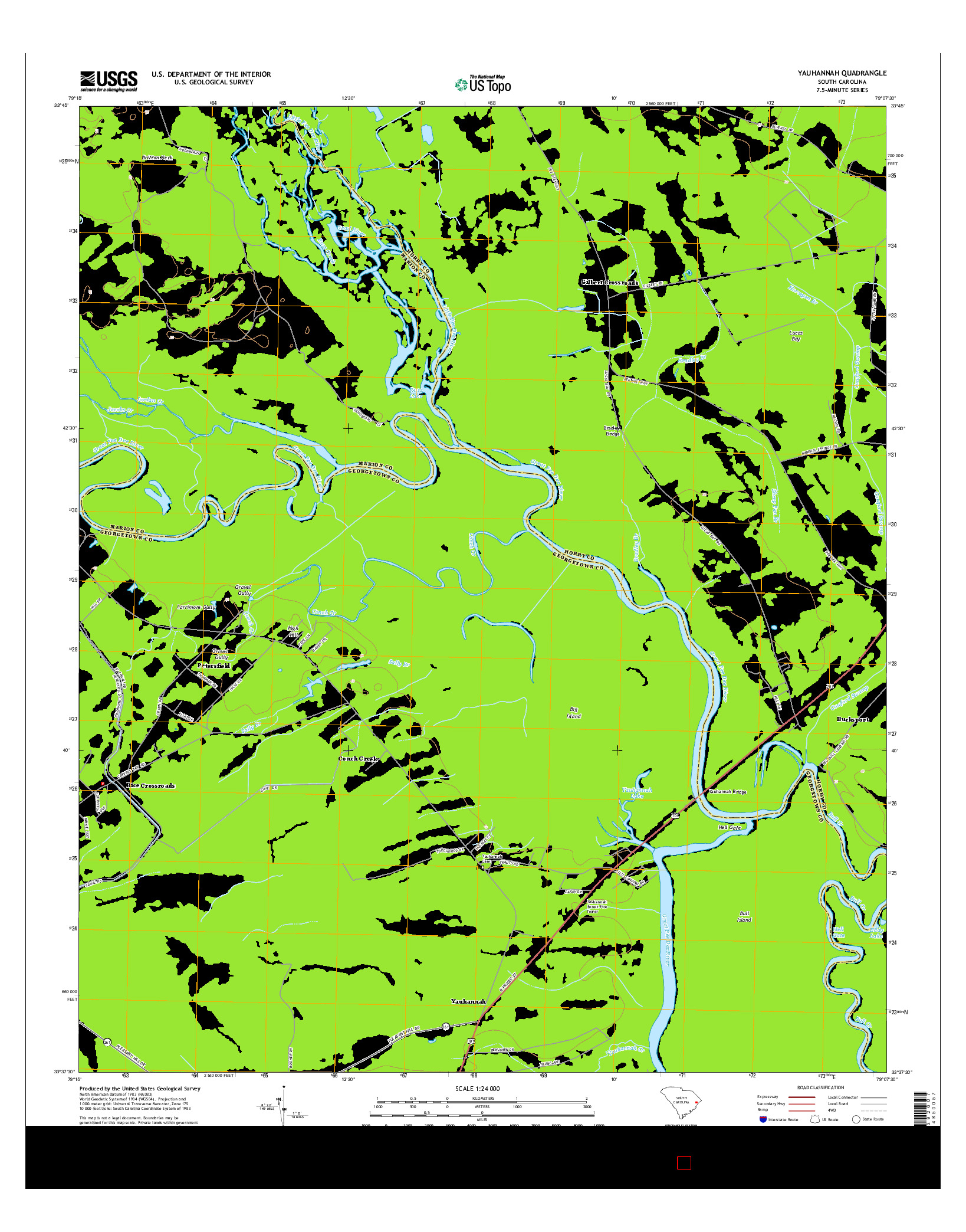 USGS US TOPO 7.5-MINUTE MAP FOR YAUHANNAH, SC 2014
