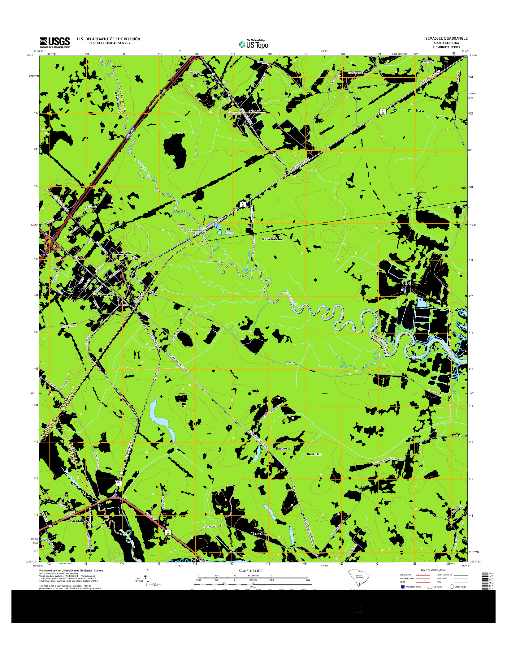 USGS US TOPO 7.5-MINUTE MAP FOR YEMASSEE, SC 2014