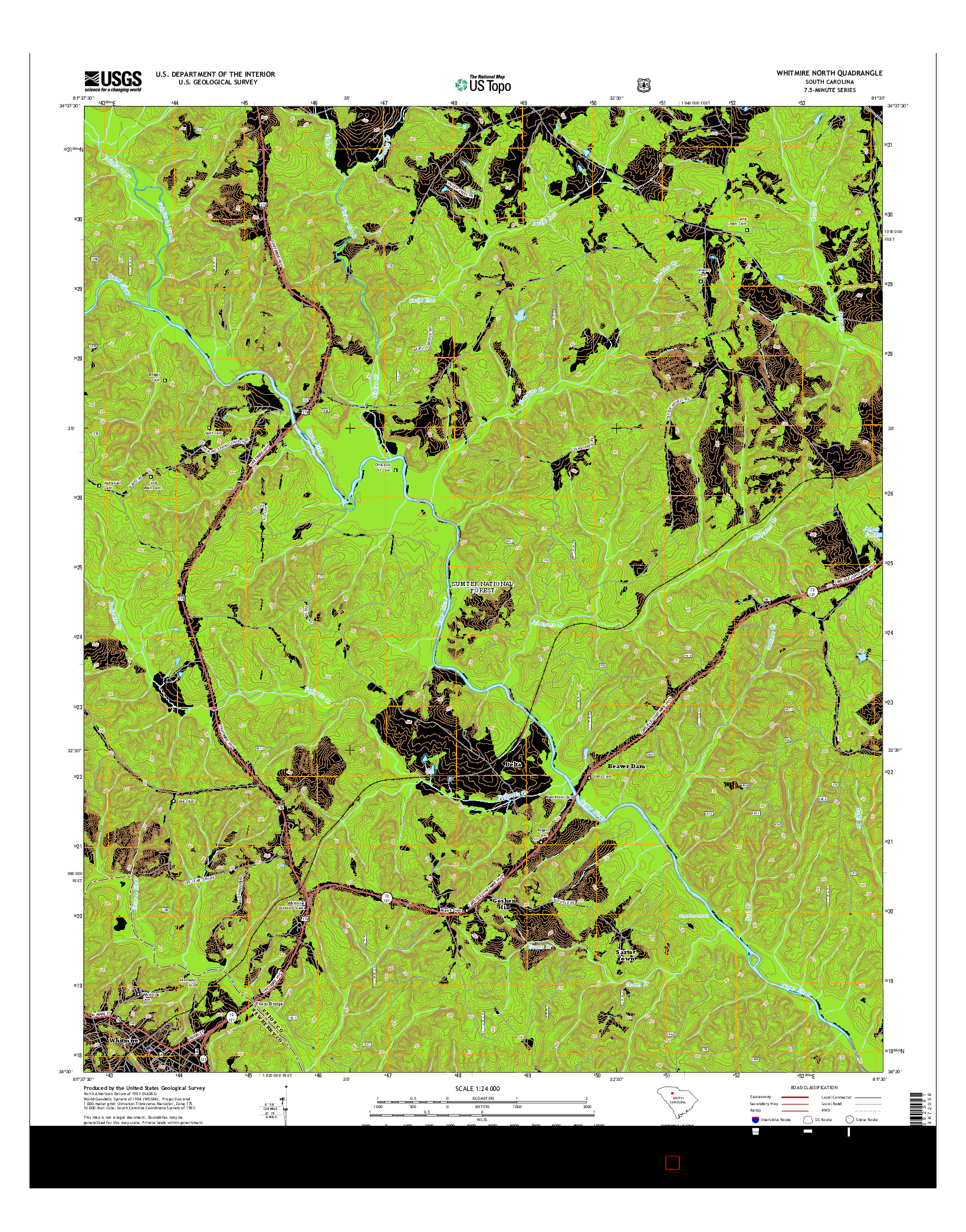 USGS US TOPO 7.5-MINUTE MAP FOR WHITMIRE NORTH, SC 2014