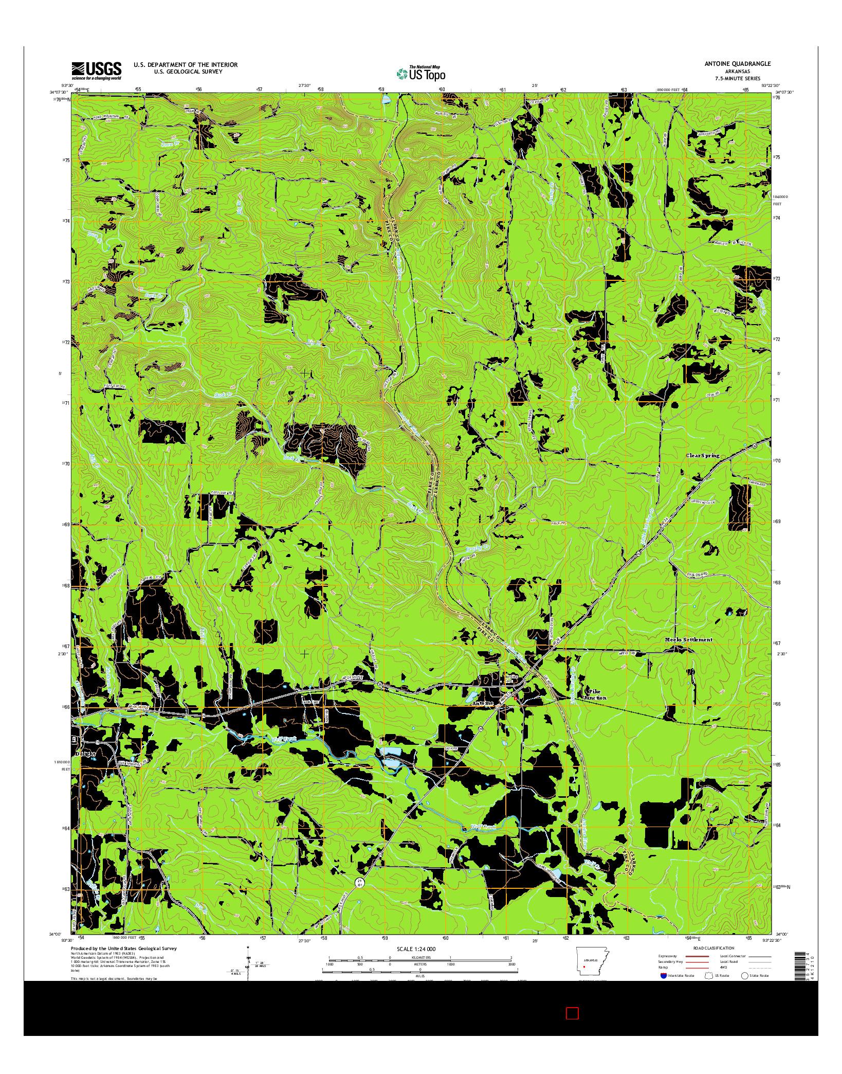 USGS US TOPO 7.5-MINUTE MAP FOR ANTOINE, AR 2014