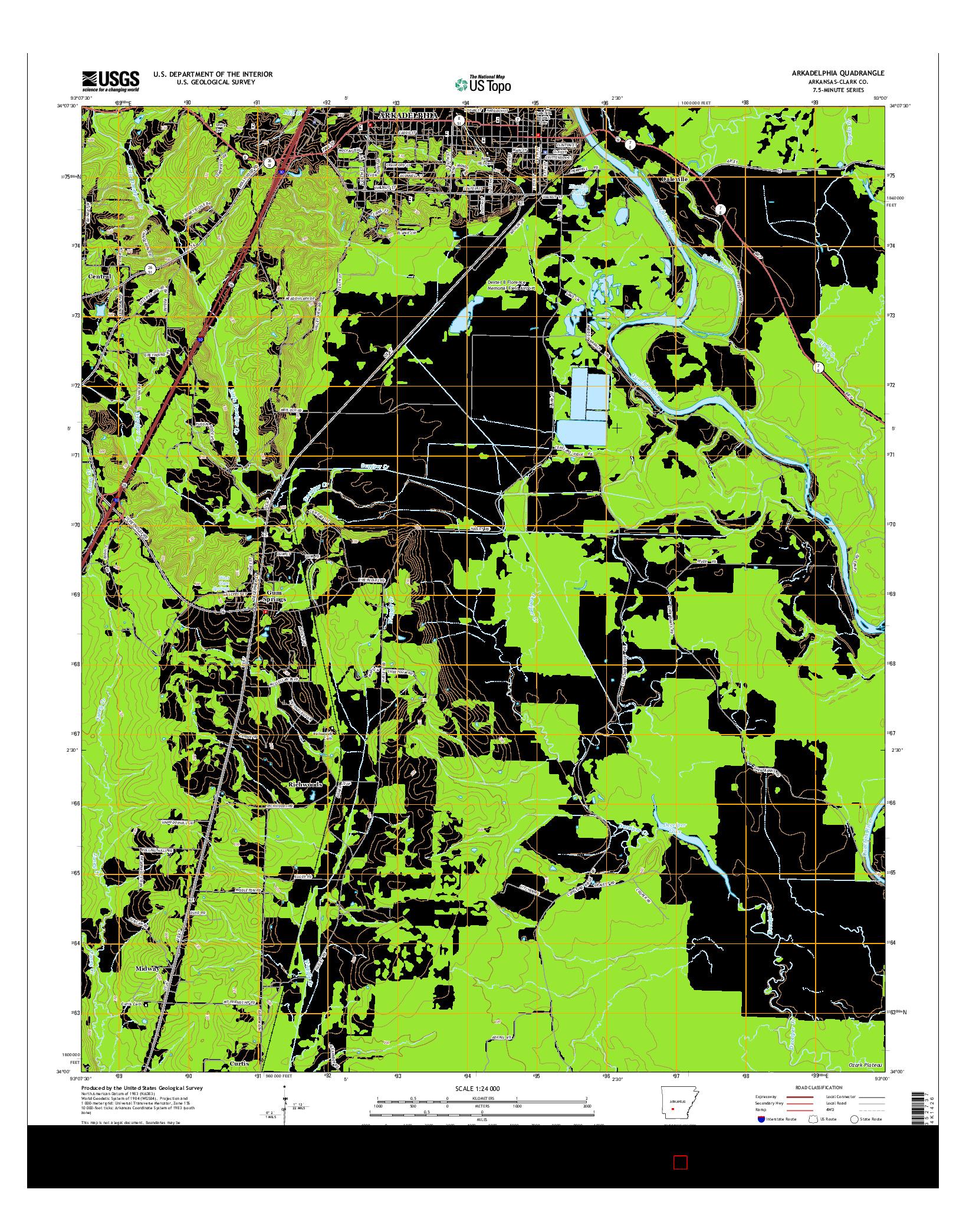 USGS US TOPO 7.5-MINUTE MAP FOR ARKADELPHIA, AR 2014