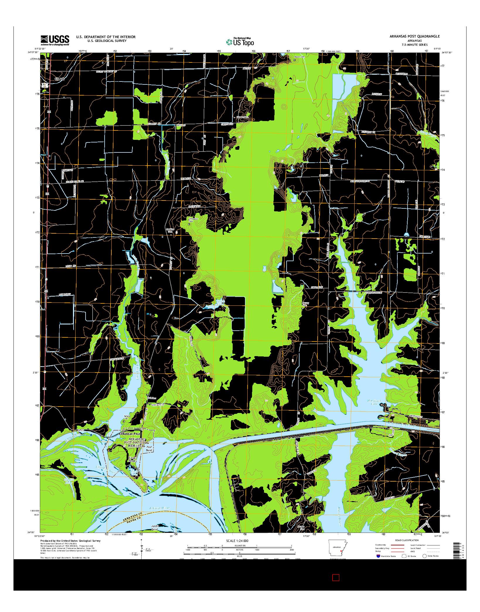 USGS US TOPO 7.5-MINUTE MAP FOR ARKANSAS POST, AR 2014