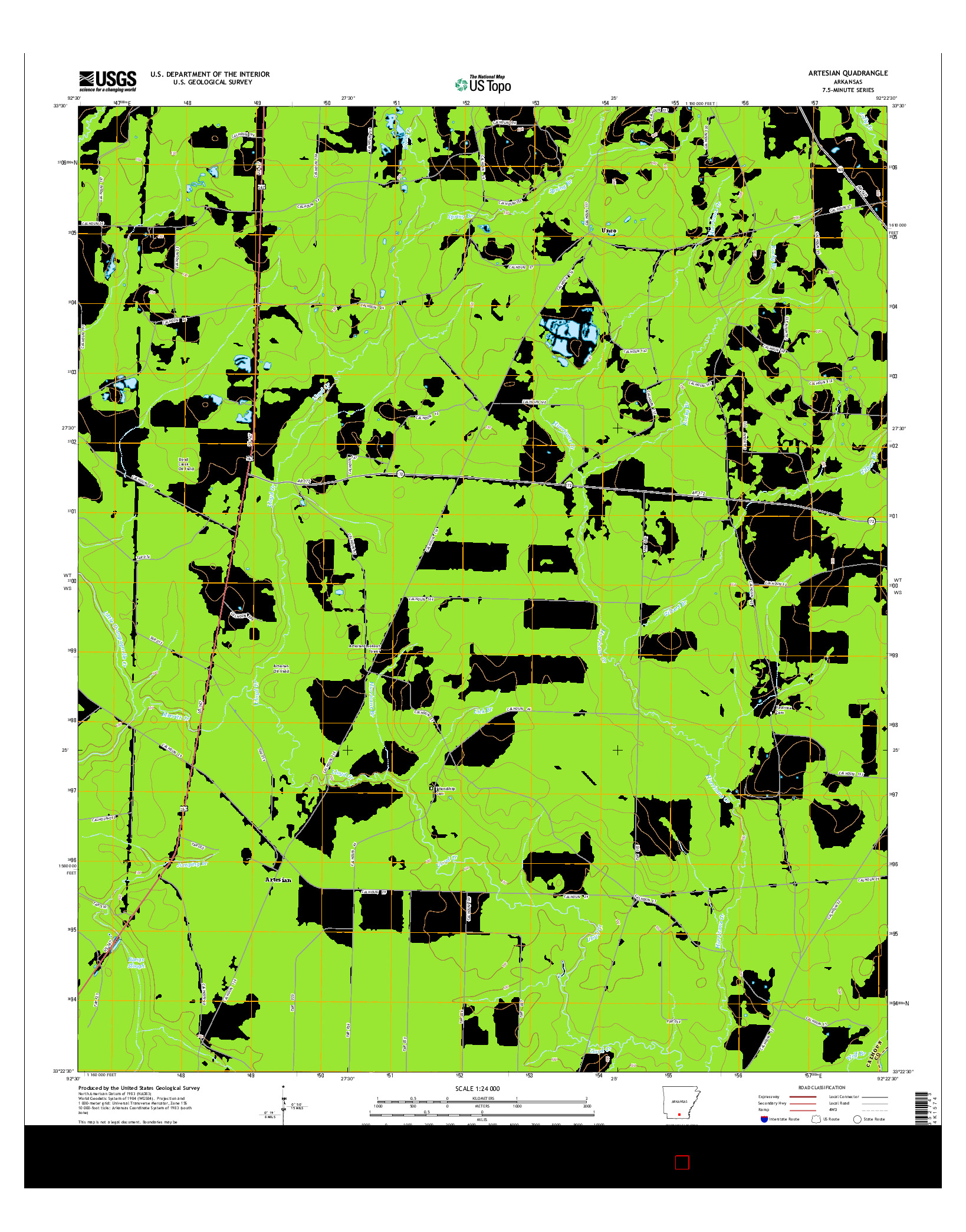 USGS US TOPO 7.5-MINUTE MAP FOR ARTESIAN, AR 2014