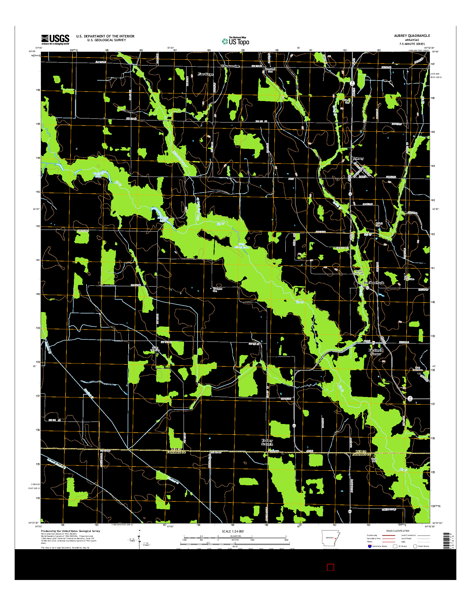 USGS US TOPO 7.5-MINUTE MAP FOR AUBREY, AR 2014
