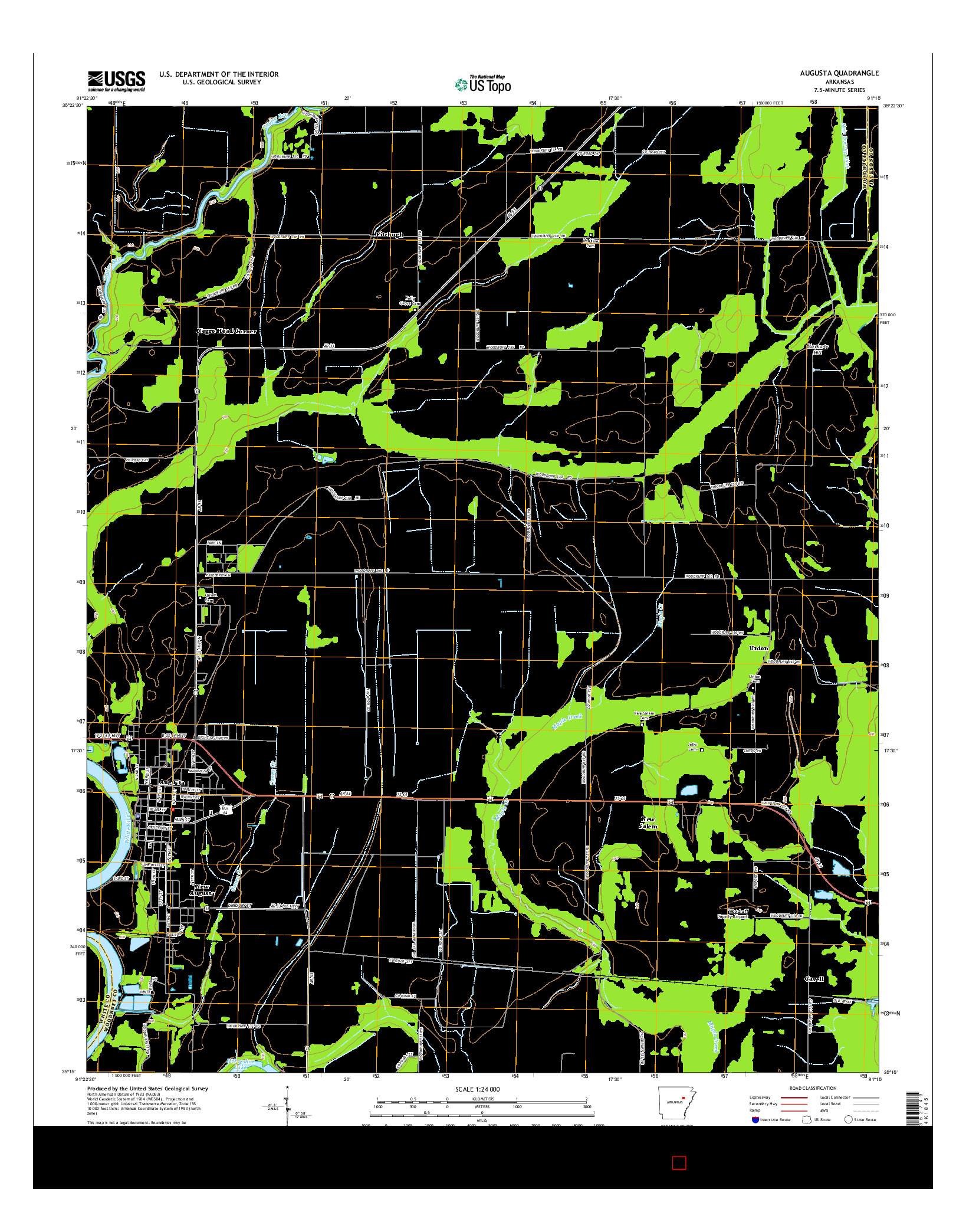 USGS US TOPO 7.5-MINUTE MAP FOR AUGUSTA, AR 2014