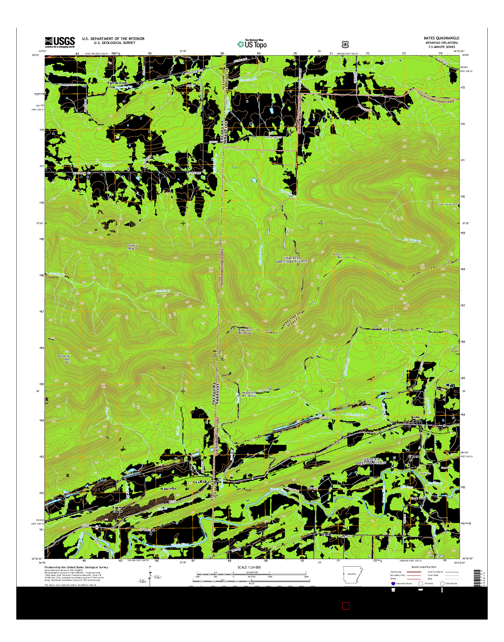 USGS US TOPO 7.5-MINUTE MAP FOR BATES, AR-OK 2014