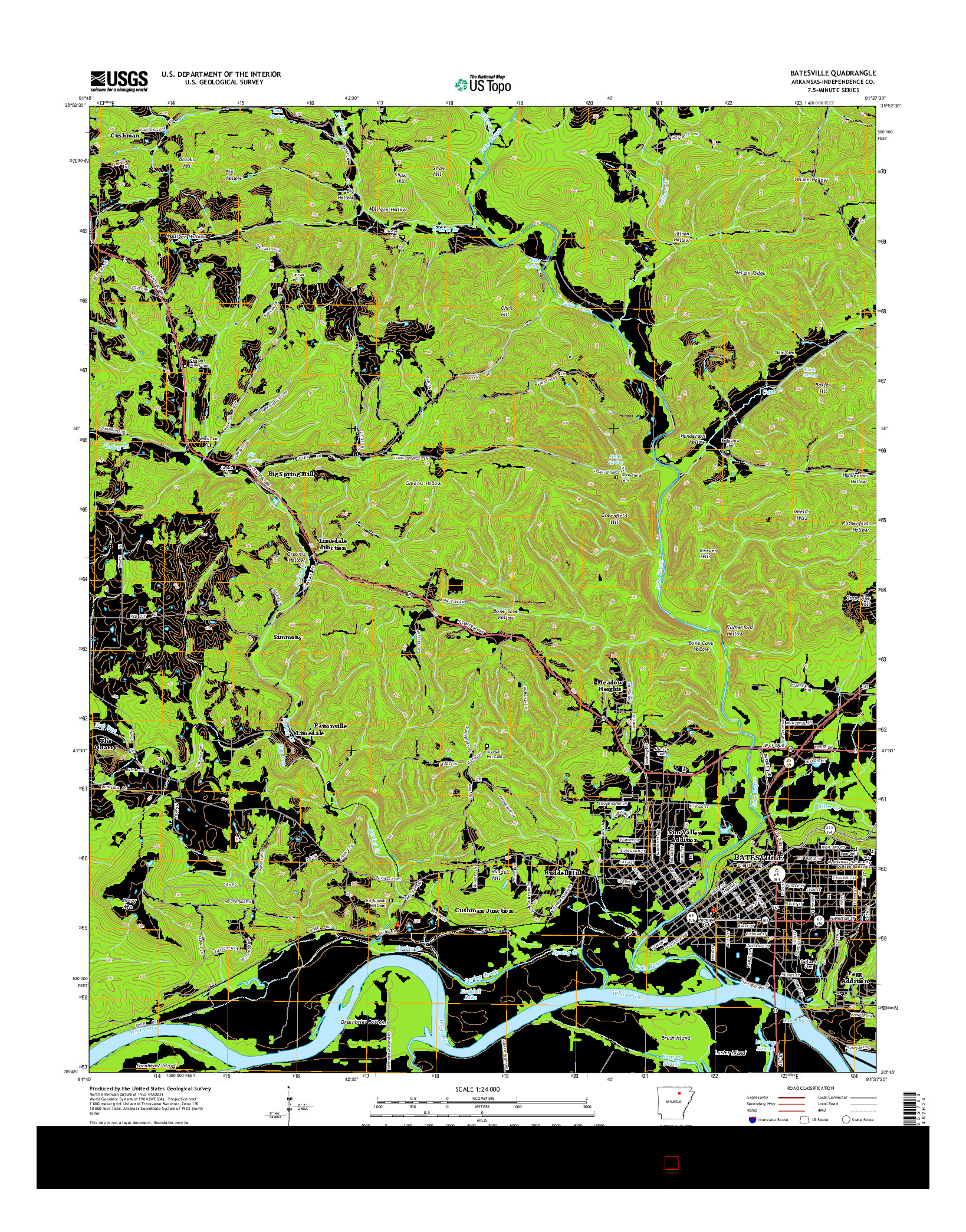 USGS US TOPO 7.5-MINUTE MAP FOR BATESVILLE, AR 2014