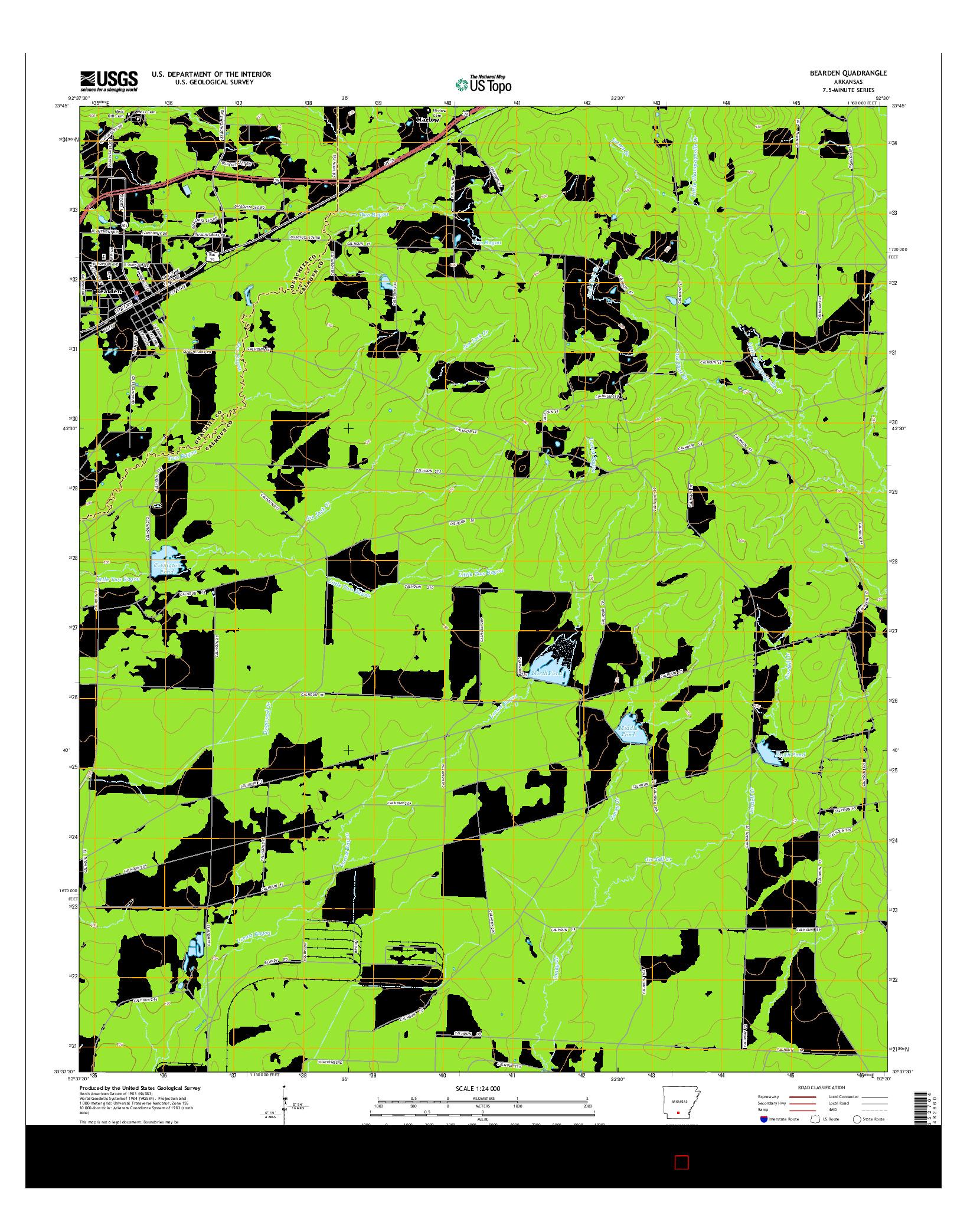 USGS US TOPO 7.5-MINUTE MAP FOR BEARDEN, AR 2014