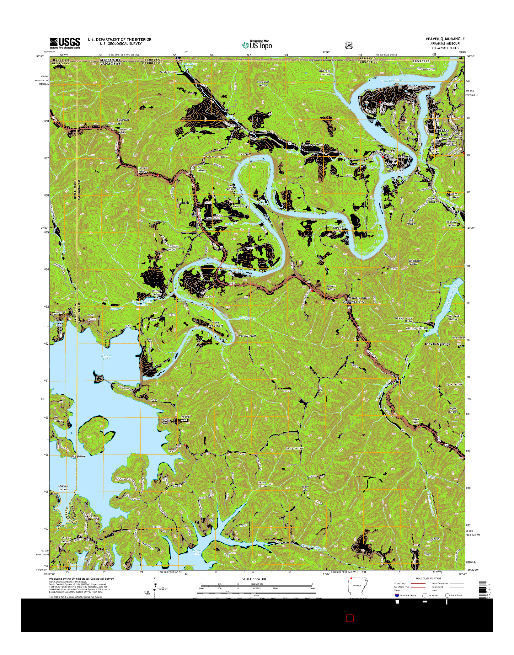 USGS US TOPO 7.5-MINUTE MAP FOR BEAVER, AR-MO 2014