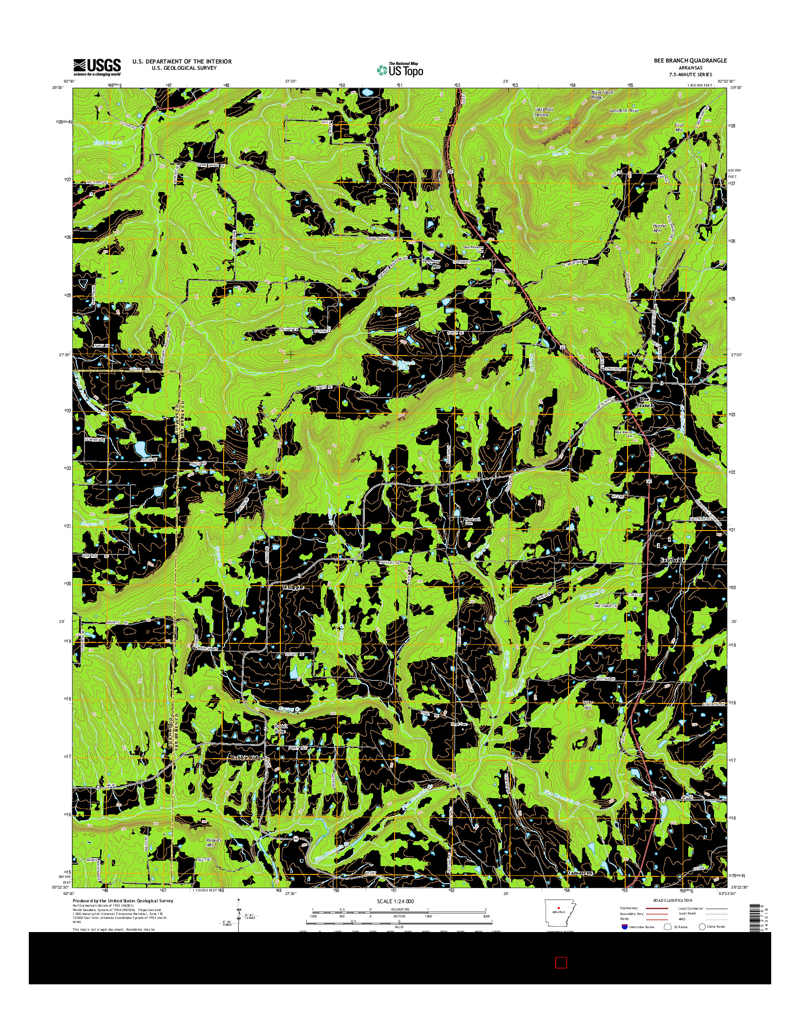 USGS US TOPO 7.5-MINUTE MAP FOR BEE BRANCH, AR 2014
