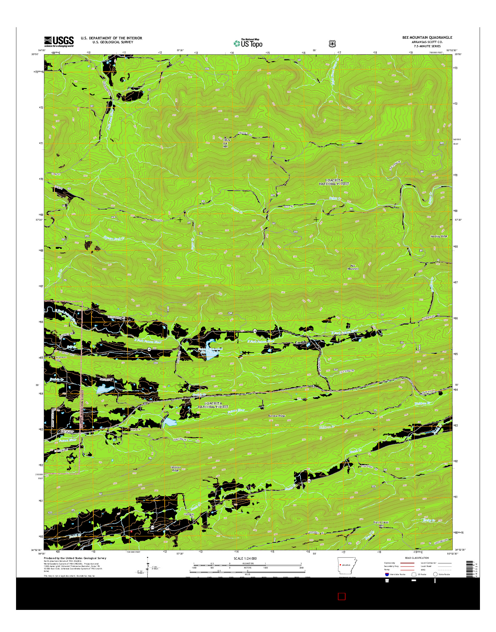 USGS US TOPO 7.5-MINUTE MAP FOR BEE MOUNTAIN, AR 2014