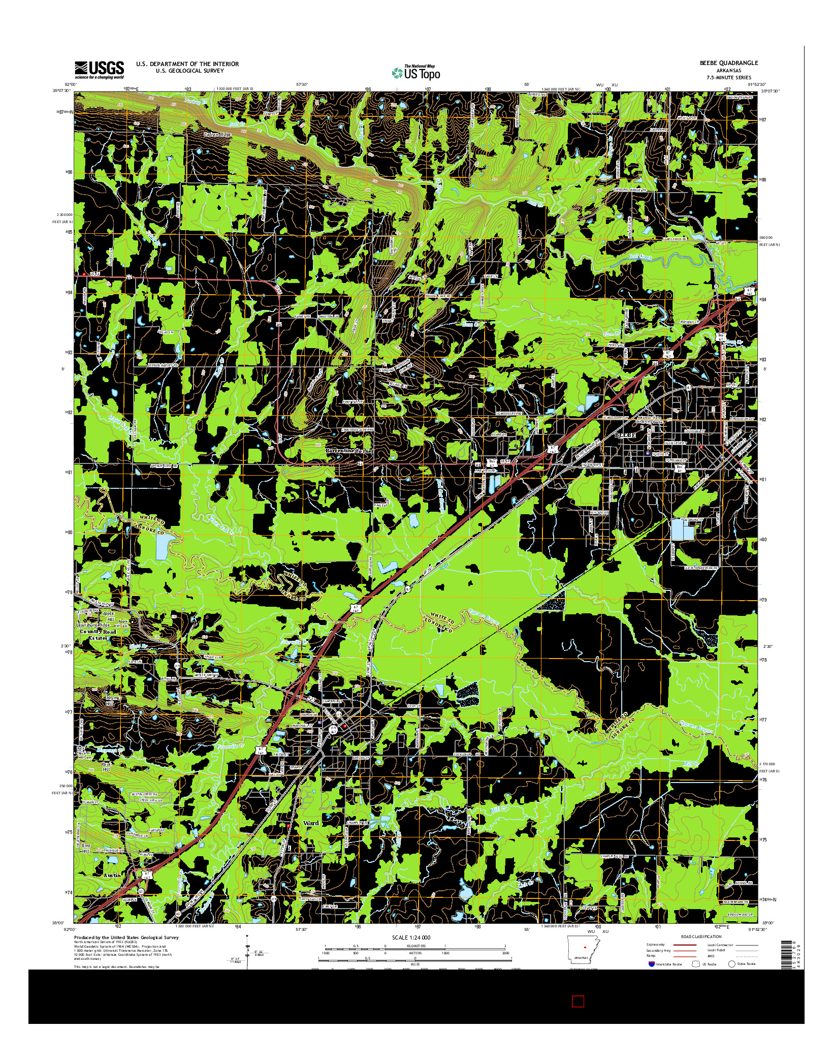 USGS US TOPO 7.5-MINUTE MAP FOR BEEBE, AR 2014