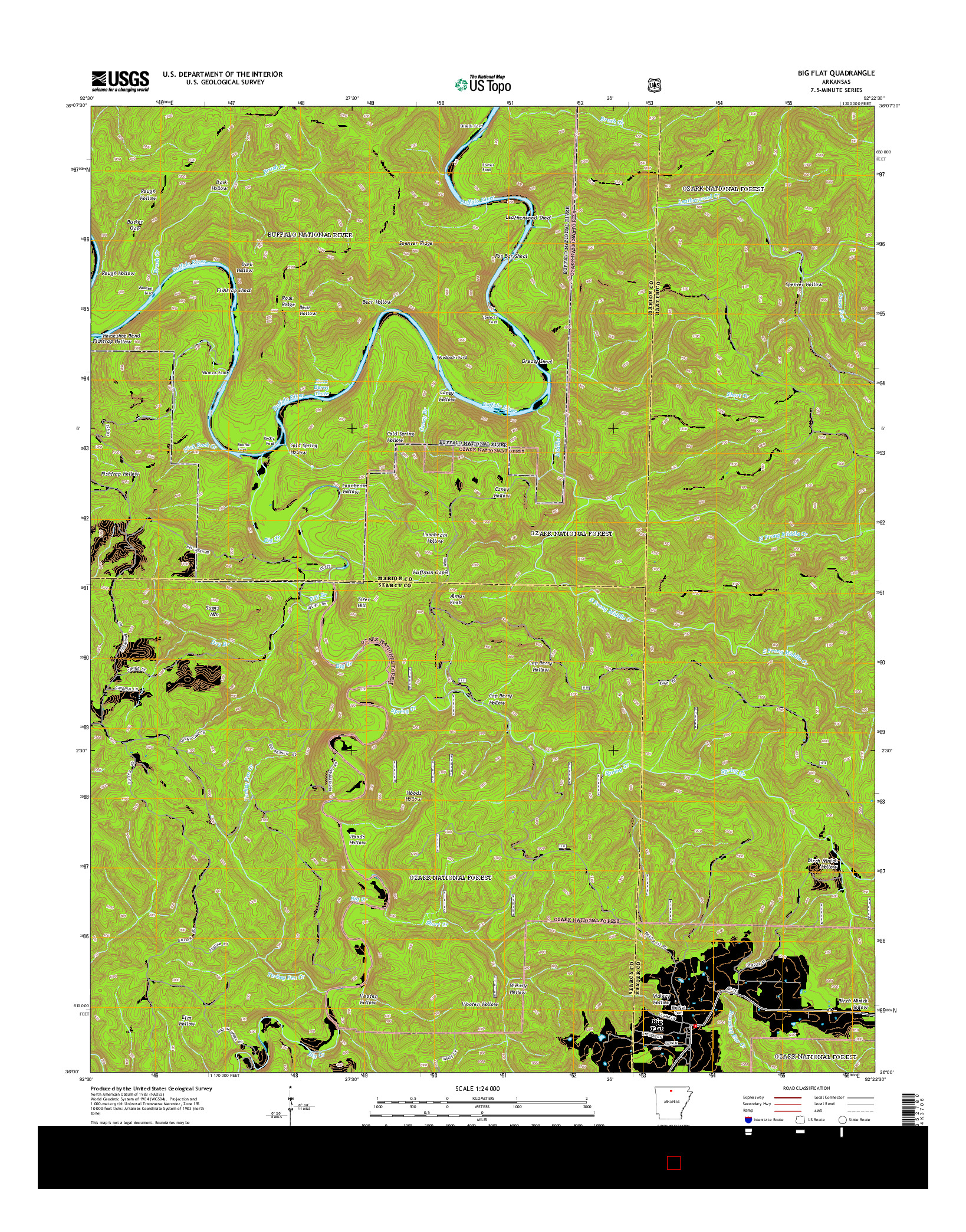 USGS US TOPO 7.5-MINUTE MAP FOR BIG FLAT, AR 2014