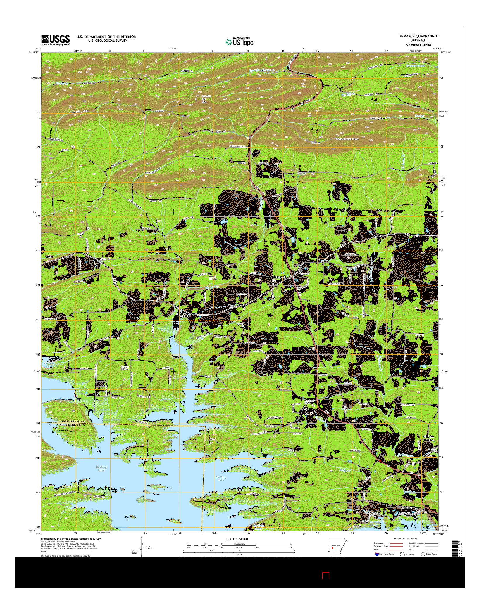 USGS US TOPO 7.5-MINUTE MAP FOR BISMARCK, AR 2014