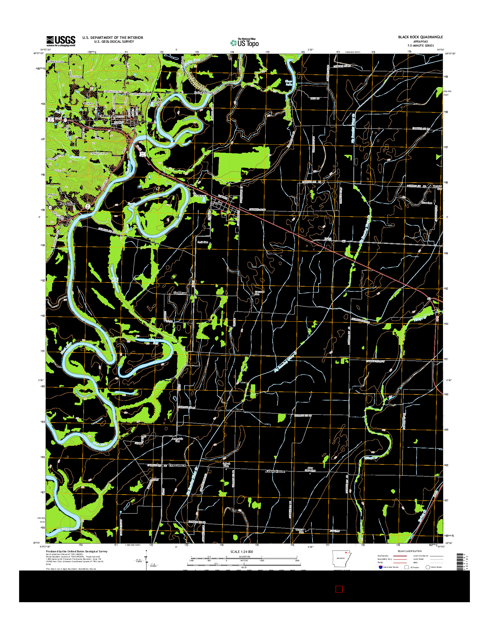 USGS US TOPO 7.5-MINUTE MAP FOR BLACK ROCK, AR 2014
