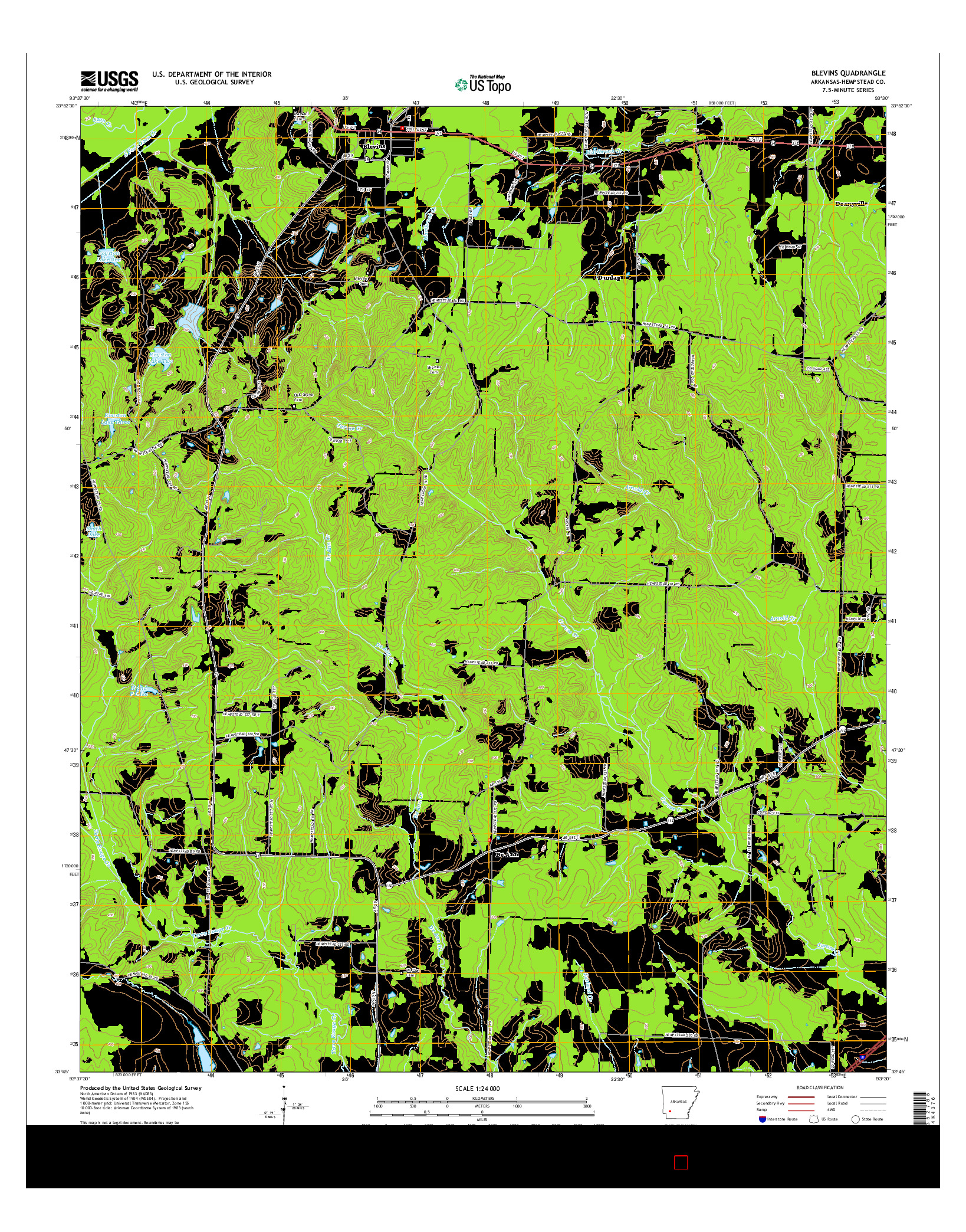USGS US TOPO 7.5-MINUTE MAP FOR BLEVINS, AR 2014