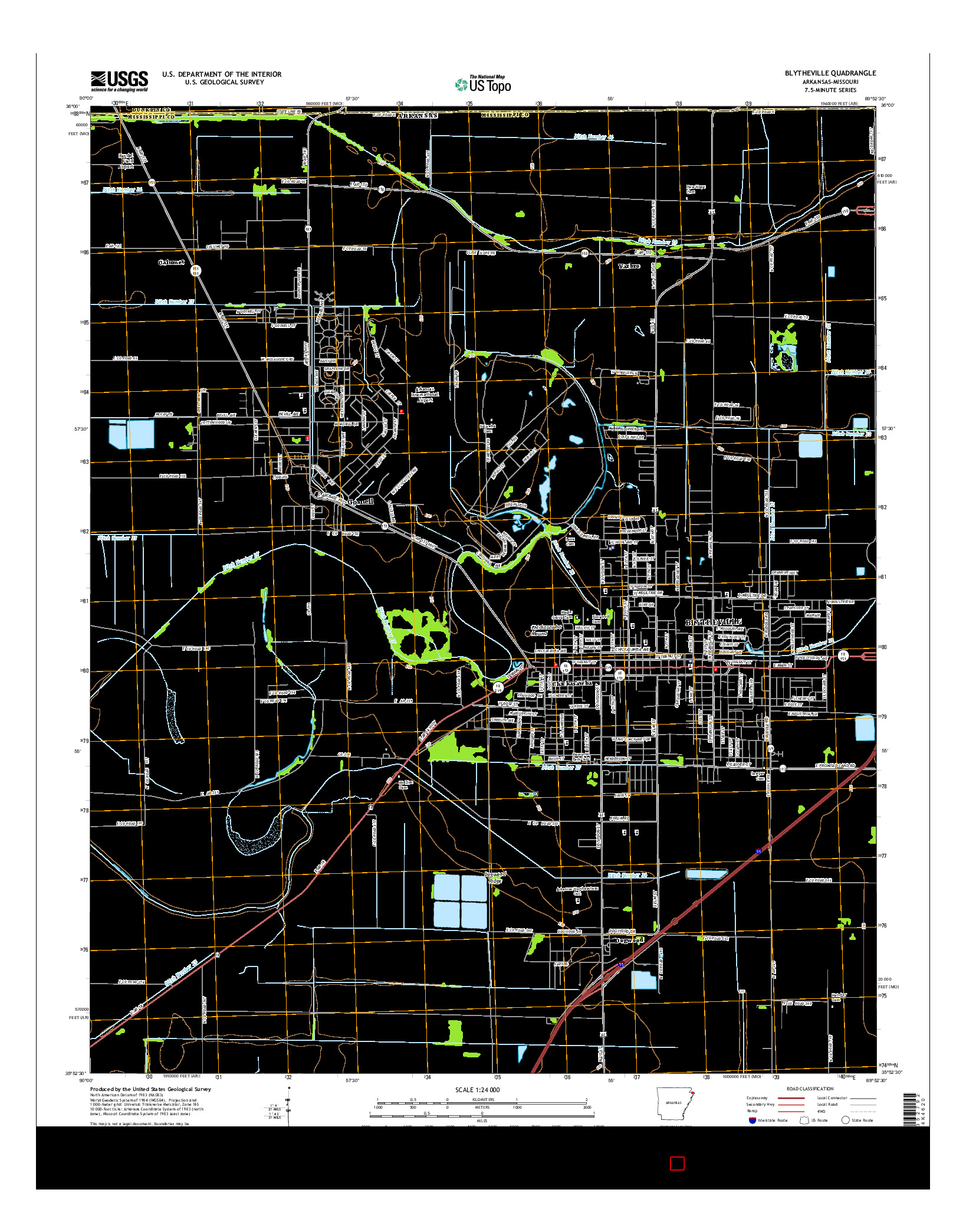 USGS US TOPO 7.5-MINUTE MAP FOR BLYTHEVILLE, AR-MO 2014