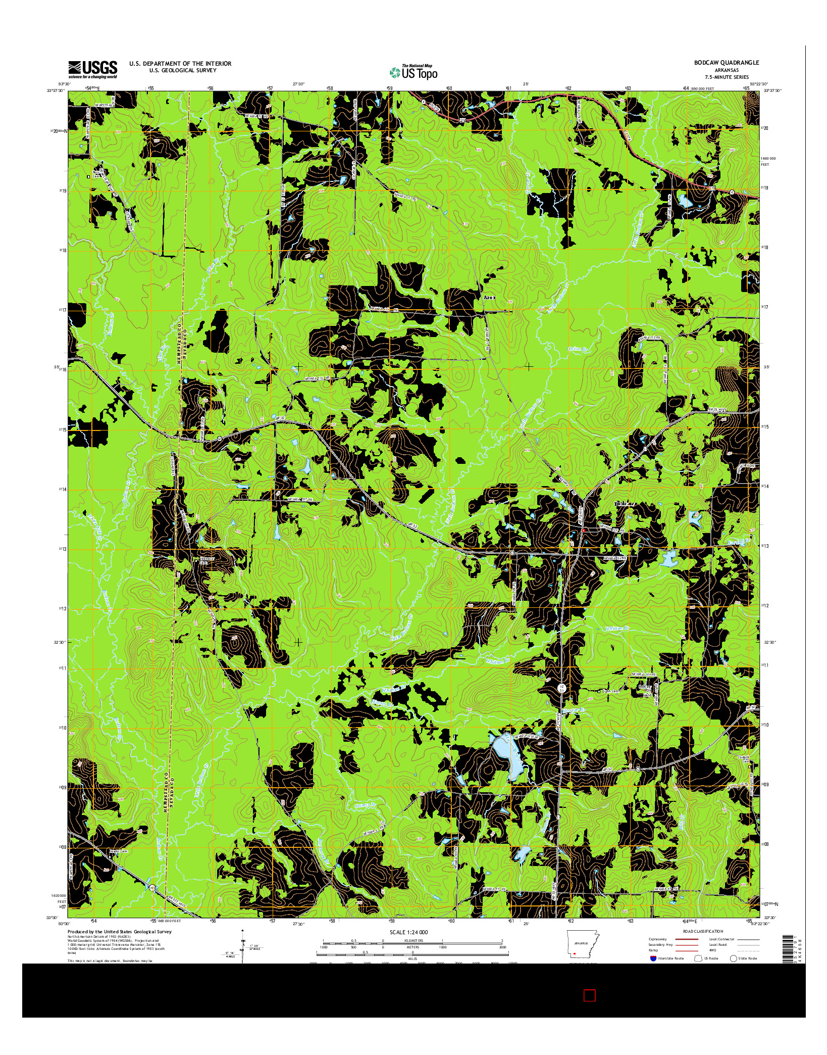USGS US TOPO 7.5-MINUTE MAP FOR BODCAW, AR 2014