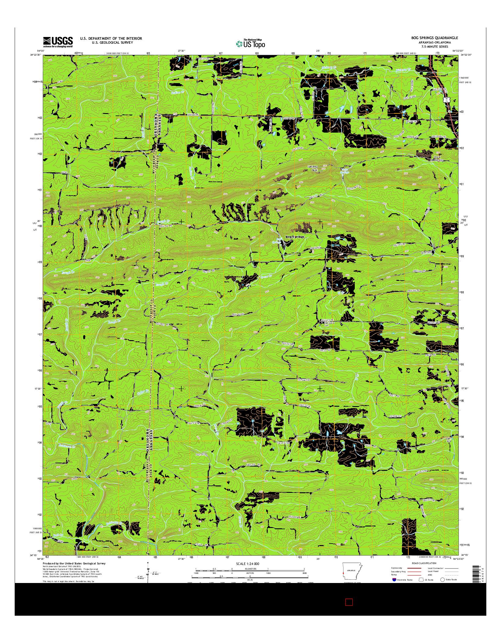 USGS US TOPO 7.5-MINUTE MAP FOR BOG SPRINGS, AR-OK 2014