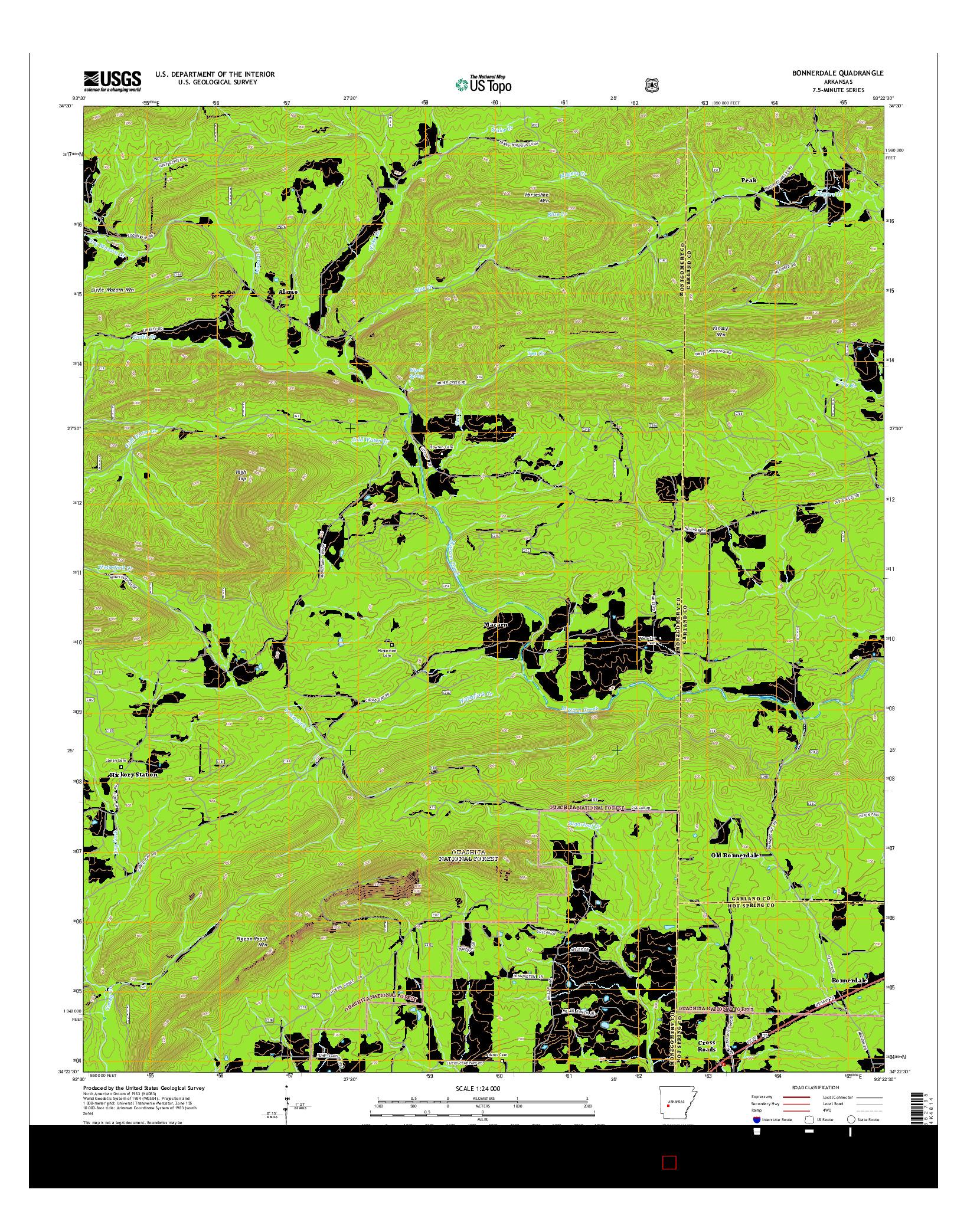 USGS US TOPO 7.5-MINUTE MAP FOR BONNERDALE, AR 2014