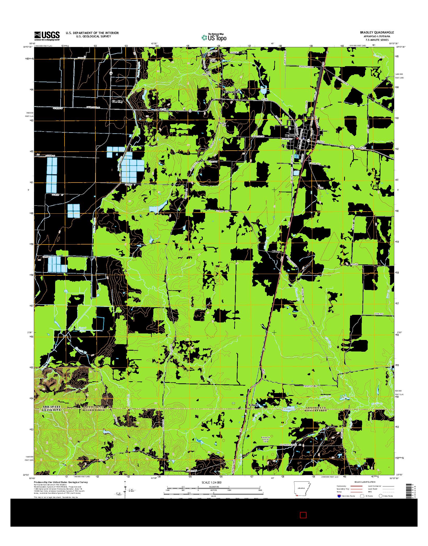 USGS US TOPO 7.5-MINUTE MAP FOR BRADLEY, AR-LA 2014