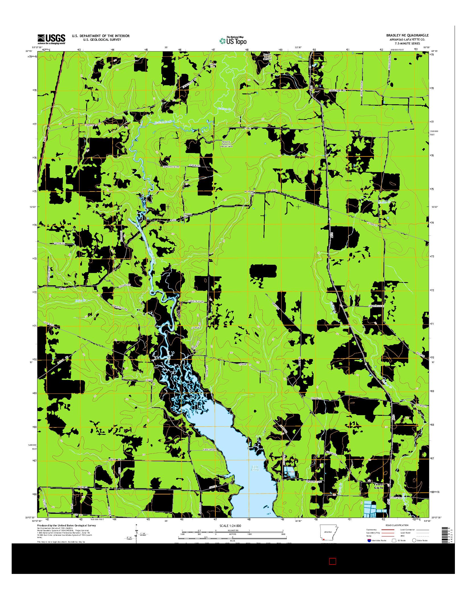 USGS US TOPO 7.5-MINUTE MAP FOR BRADLEY NE, AR 2014