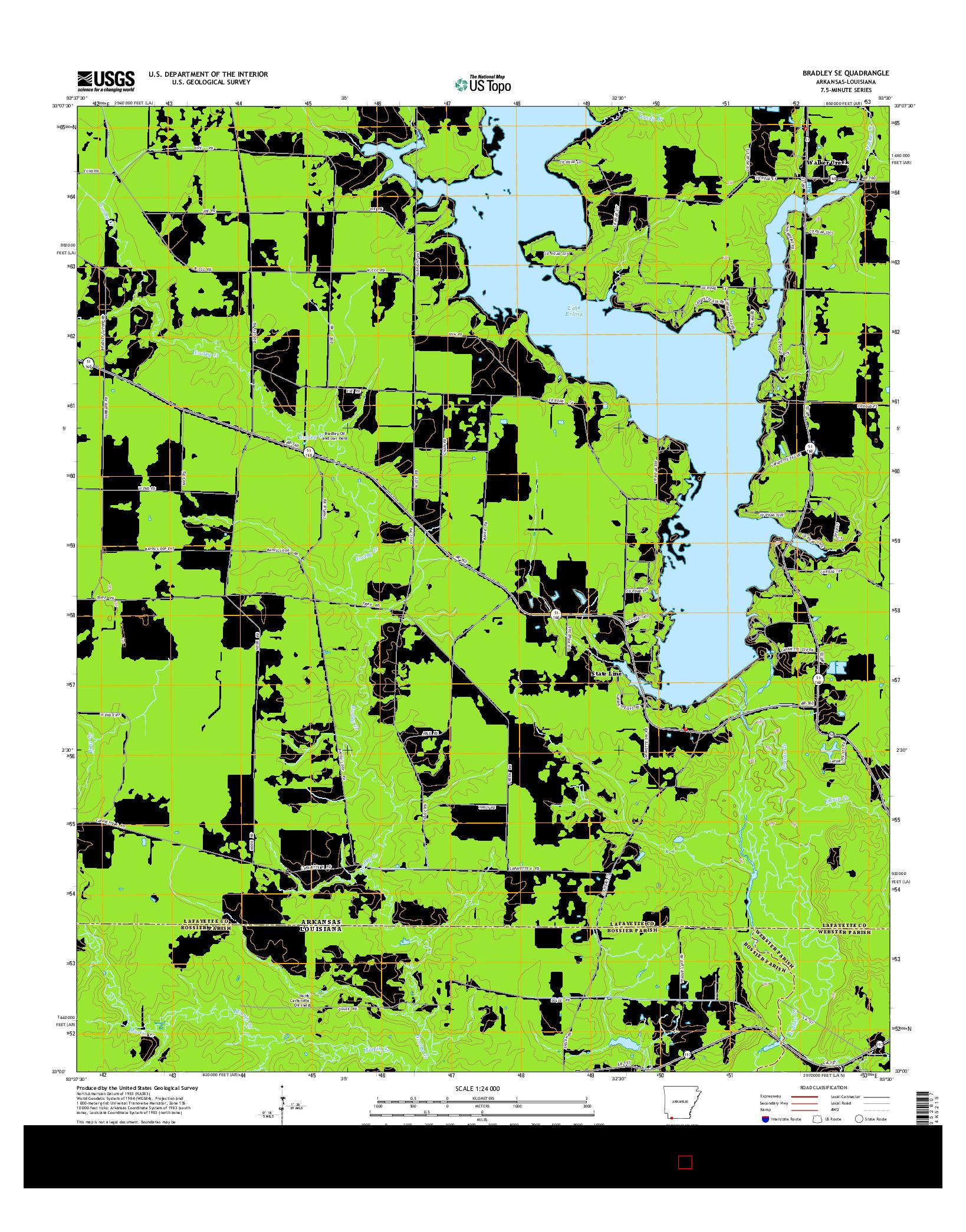 USGS US TOPO 7.5-MINUTE MAP FOR BRADLEY SE, AR-LA 2014