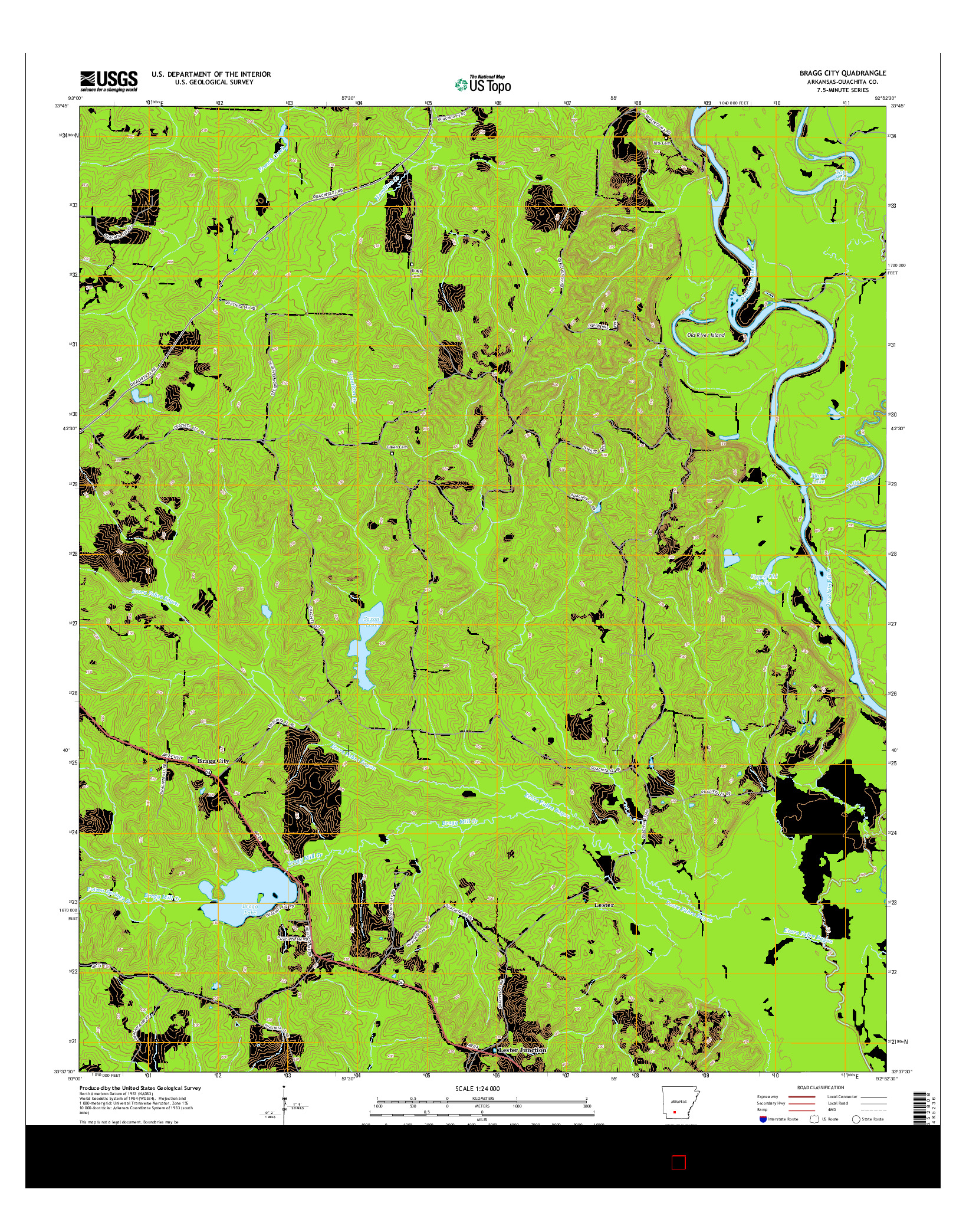 USGS US TOPO 7.5-MINUTE MAP FOR BRAGG CITY, AR 2014