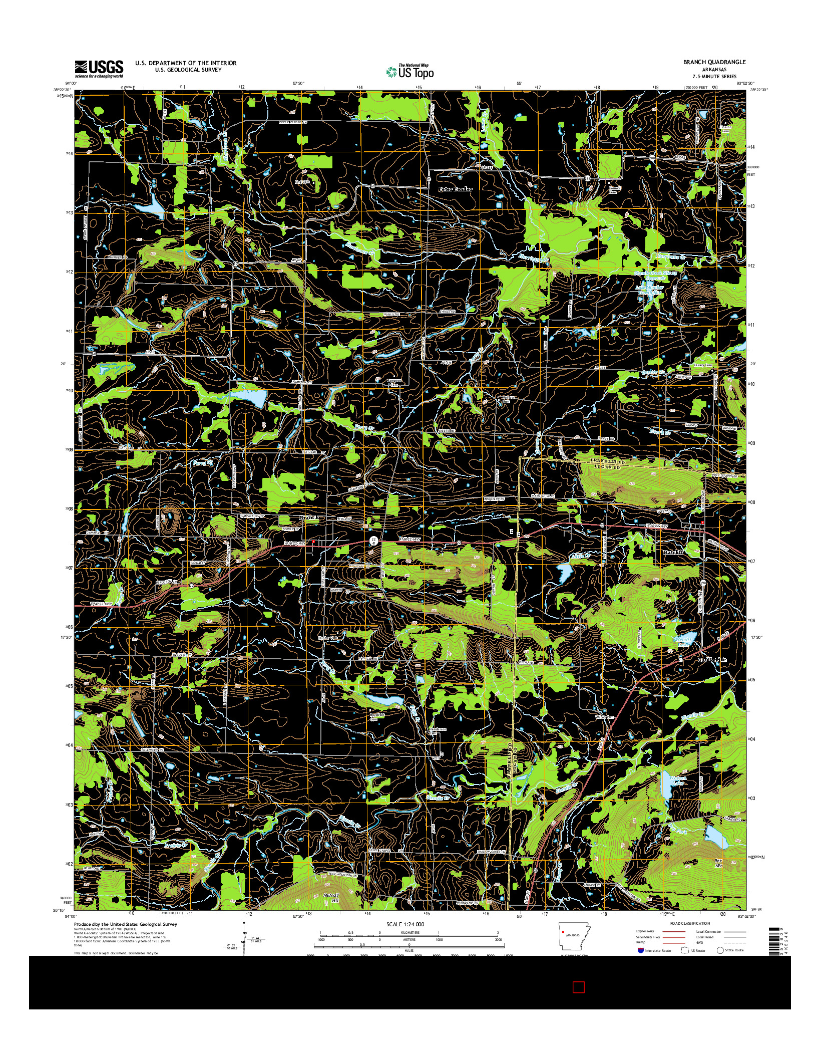 USGS US TOPO 7.5-MINUTE MAP FOR BRANCH, AR 2014