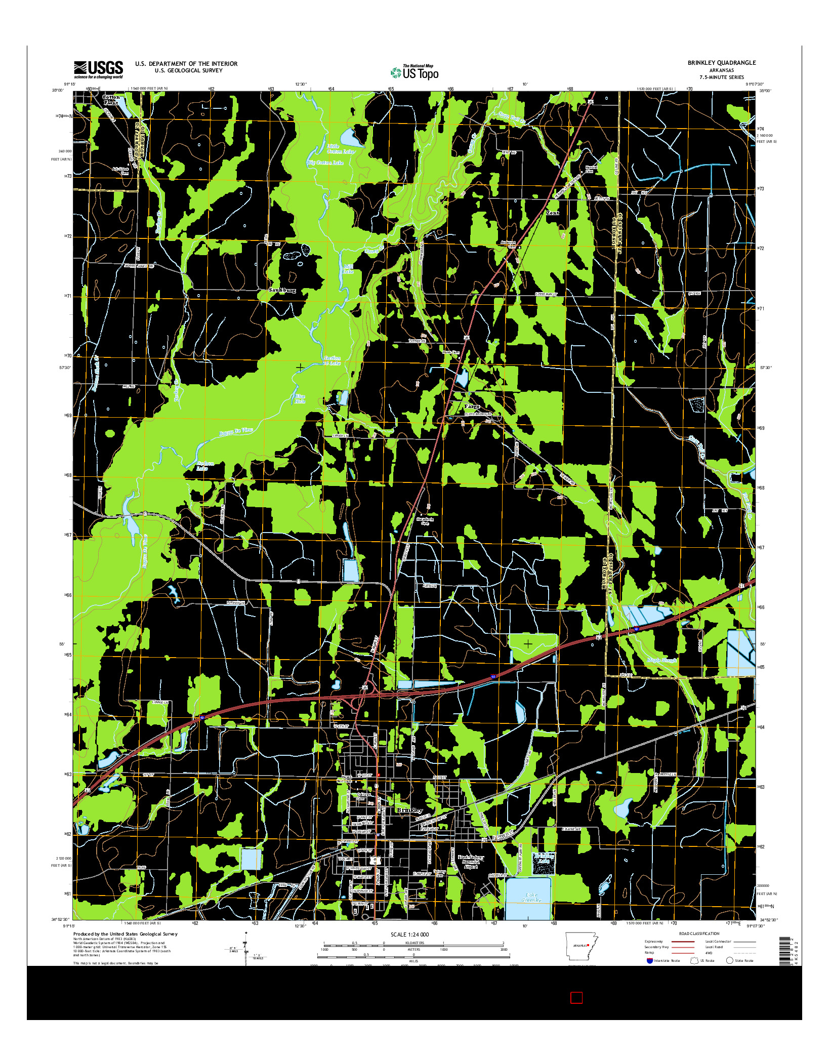 USGS US TOPO 7.5-MINUTE MAP FOR BRINKLEY, AR 2014