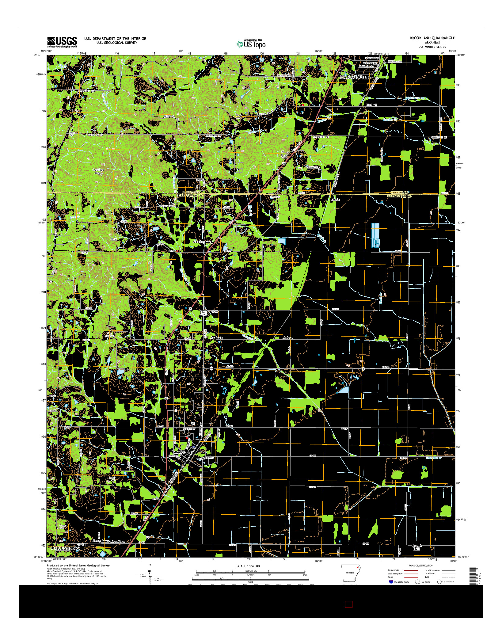 USGS US TOPO 7.5-MINUTE MAP FOR BROOKLAND, AR 2014