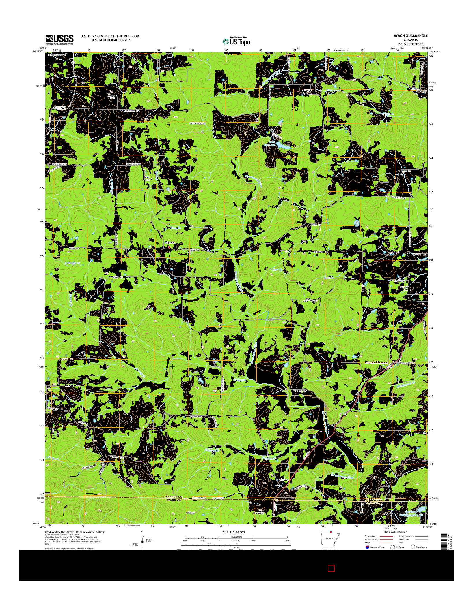 USGS US TOPO 7.5-MINUTE MAP FOR BYRON, AR 2014