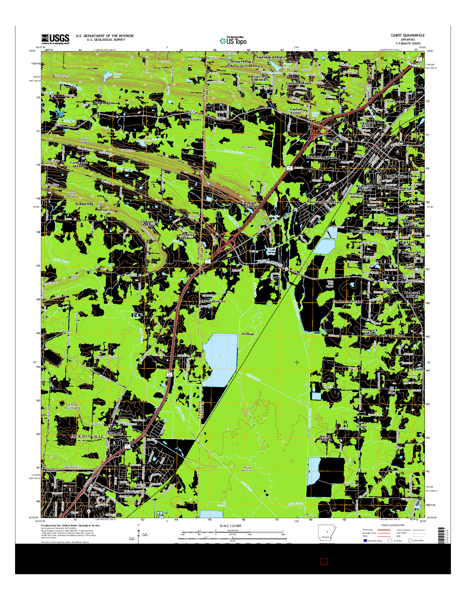 USGS US TOPO 7.5-MINUTE MAP FOR CABOT, AR 2014