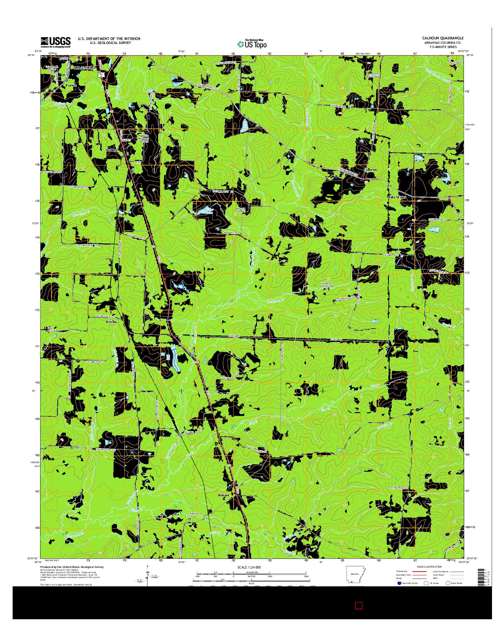 USGS US TOPO 7.5-MINUTE MAP FOR CALHOUN, AR 2014