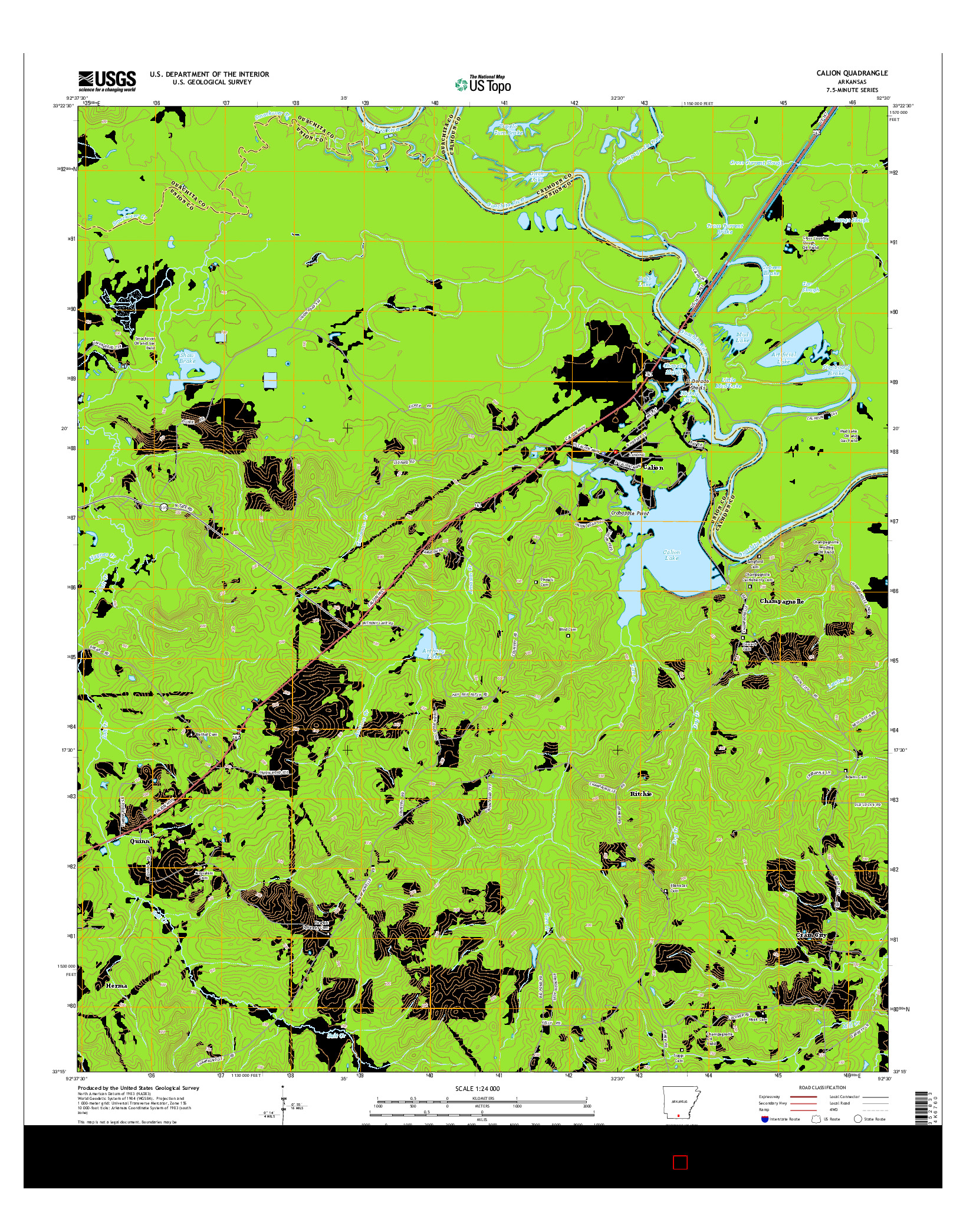 USGS US TOPO 7.5-MINUTE MAP FOR CALION, AR 2014