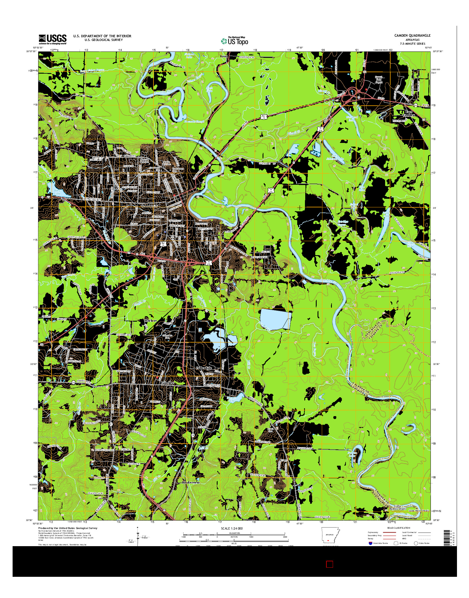 USGS US TOPO 7.5-MINUTE MAP FOR CAMDEN, AR 2014