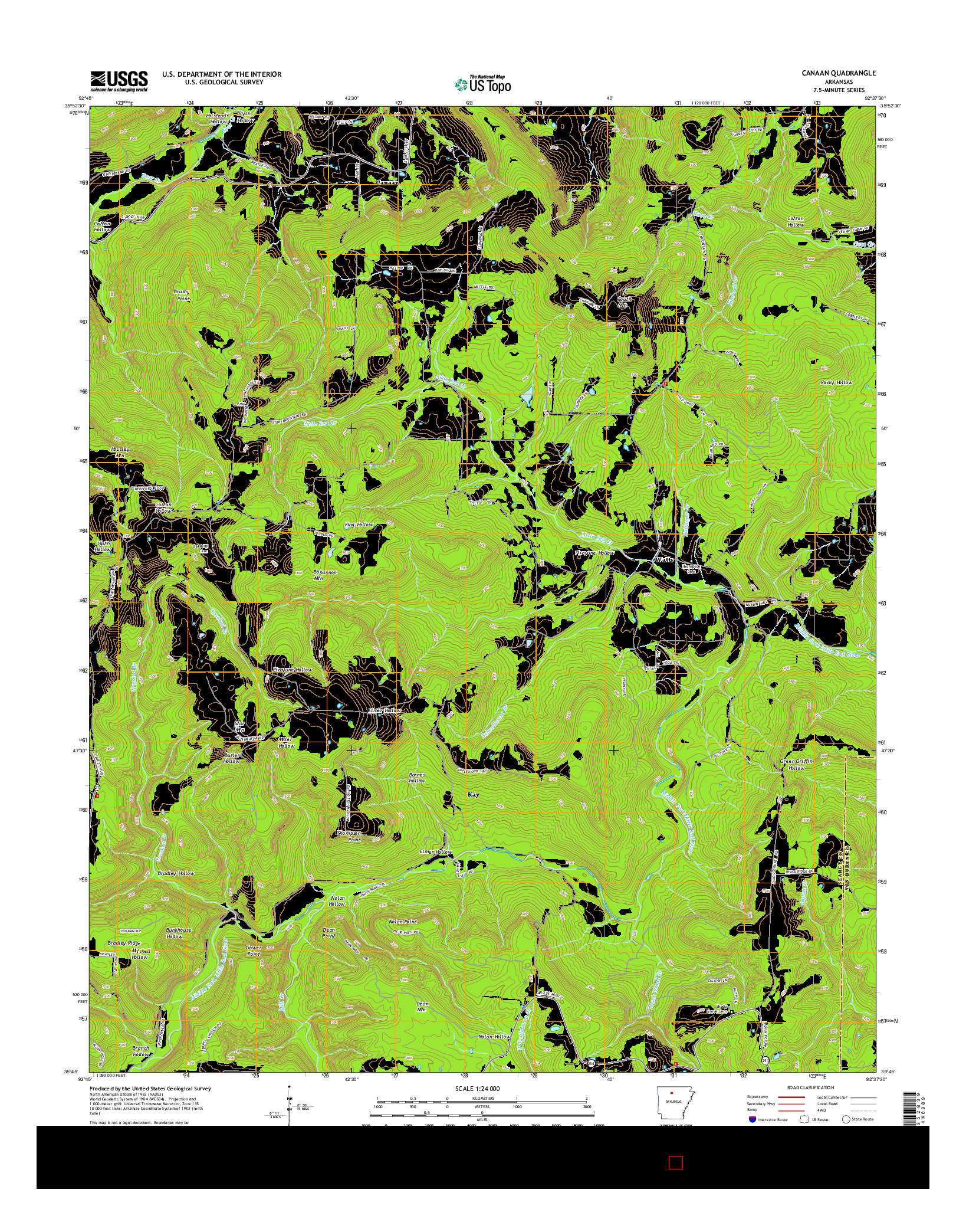 USGS US TOPO 7.5-MINUTE MAP FOR CANAAN, AR 2014