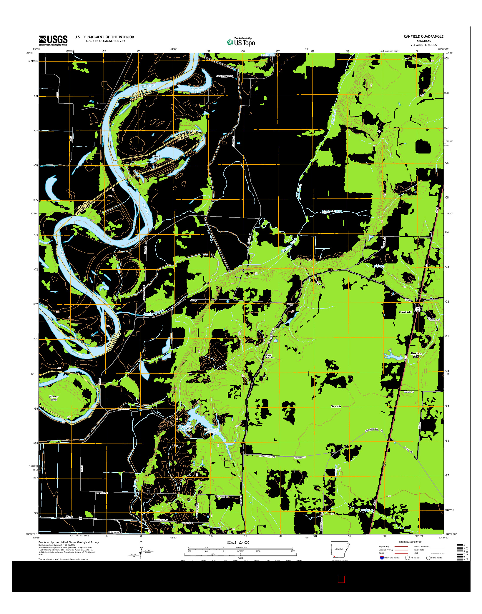 USGS US TOPO 7.5-MINUTE MAP FOR CANFIELD, AR 2014