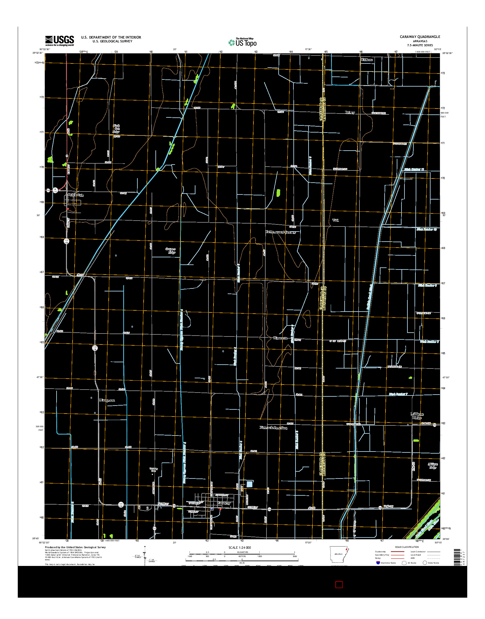 USGS US TOPO 7.5-MINUTE MAP FOR CARAWAY, AR 2014