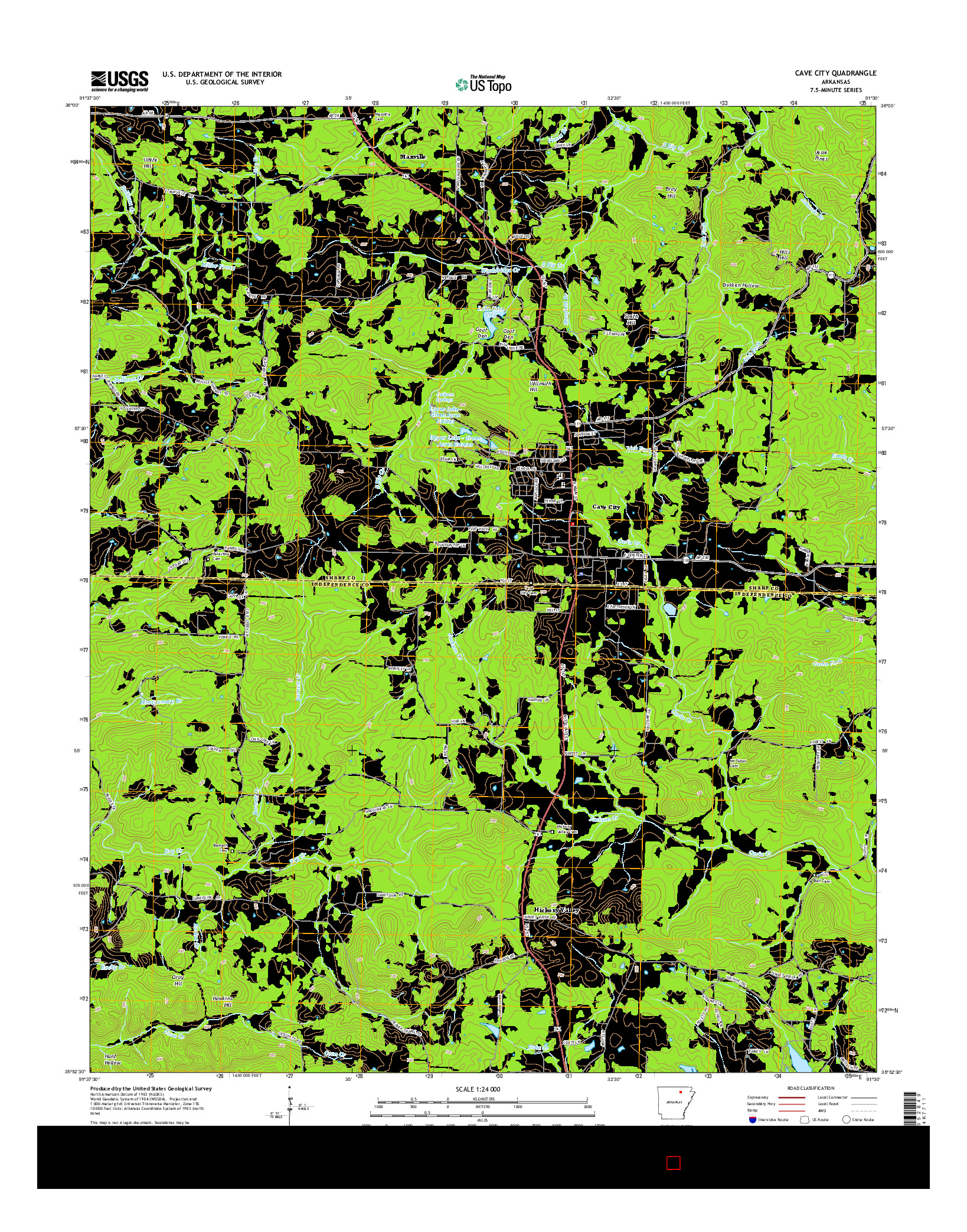 USGS US TOPO 7.5-MINUTE MAP FOR CAVE CITY, AR 2014